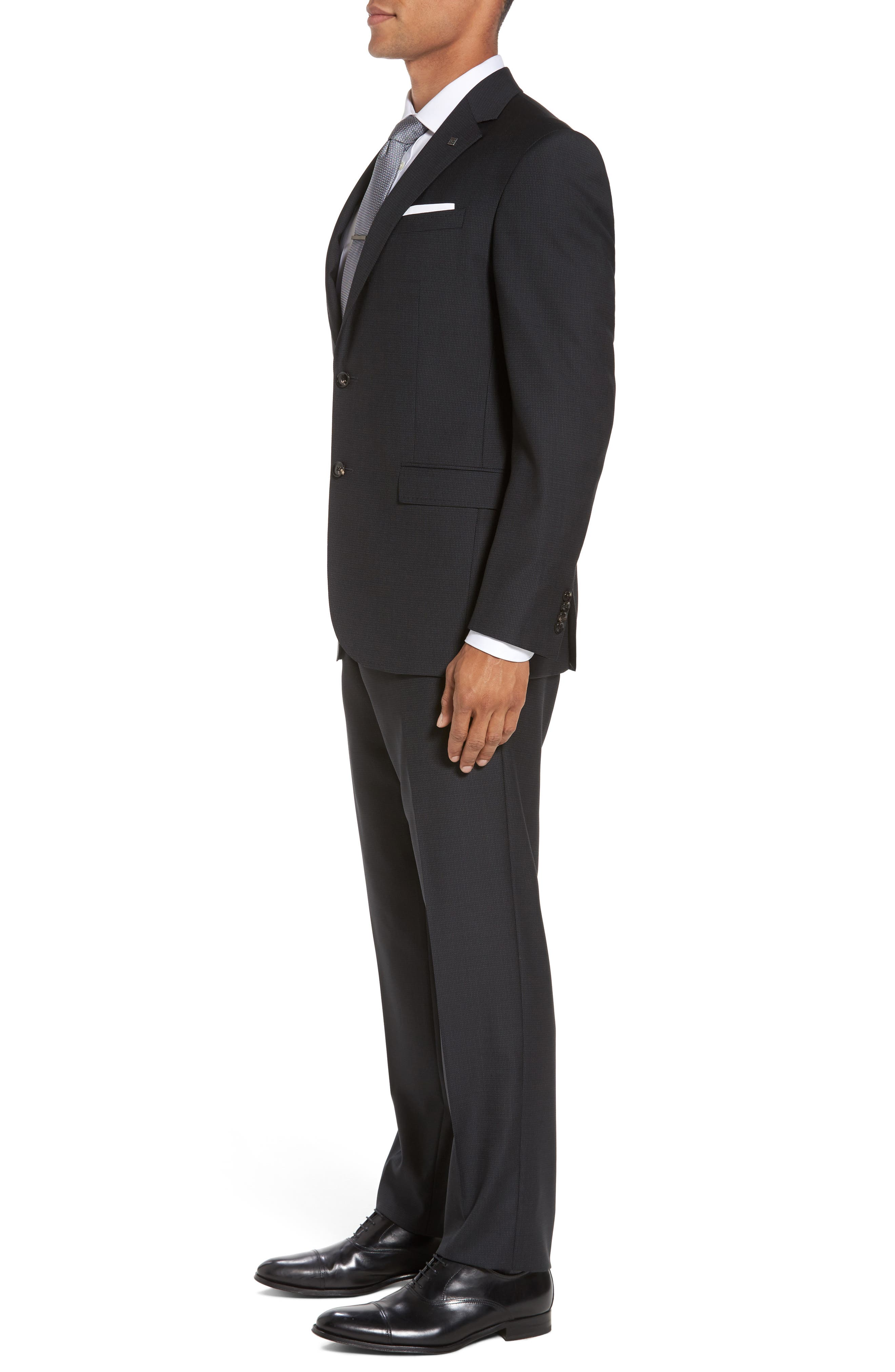 Jay Trim Fit Solid Wool Suit,                             Alternate thumbnail 3, color,                             Black Charcoal