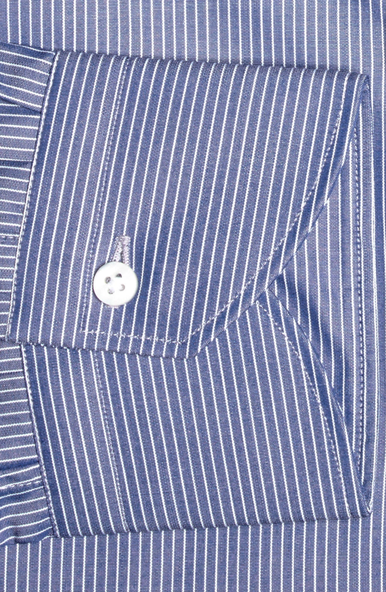 Regular Fit Stripe Dress Shirt,                             Alternate thumbnail 4, color,                             Blue