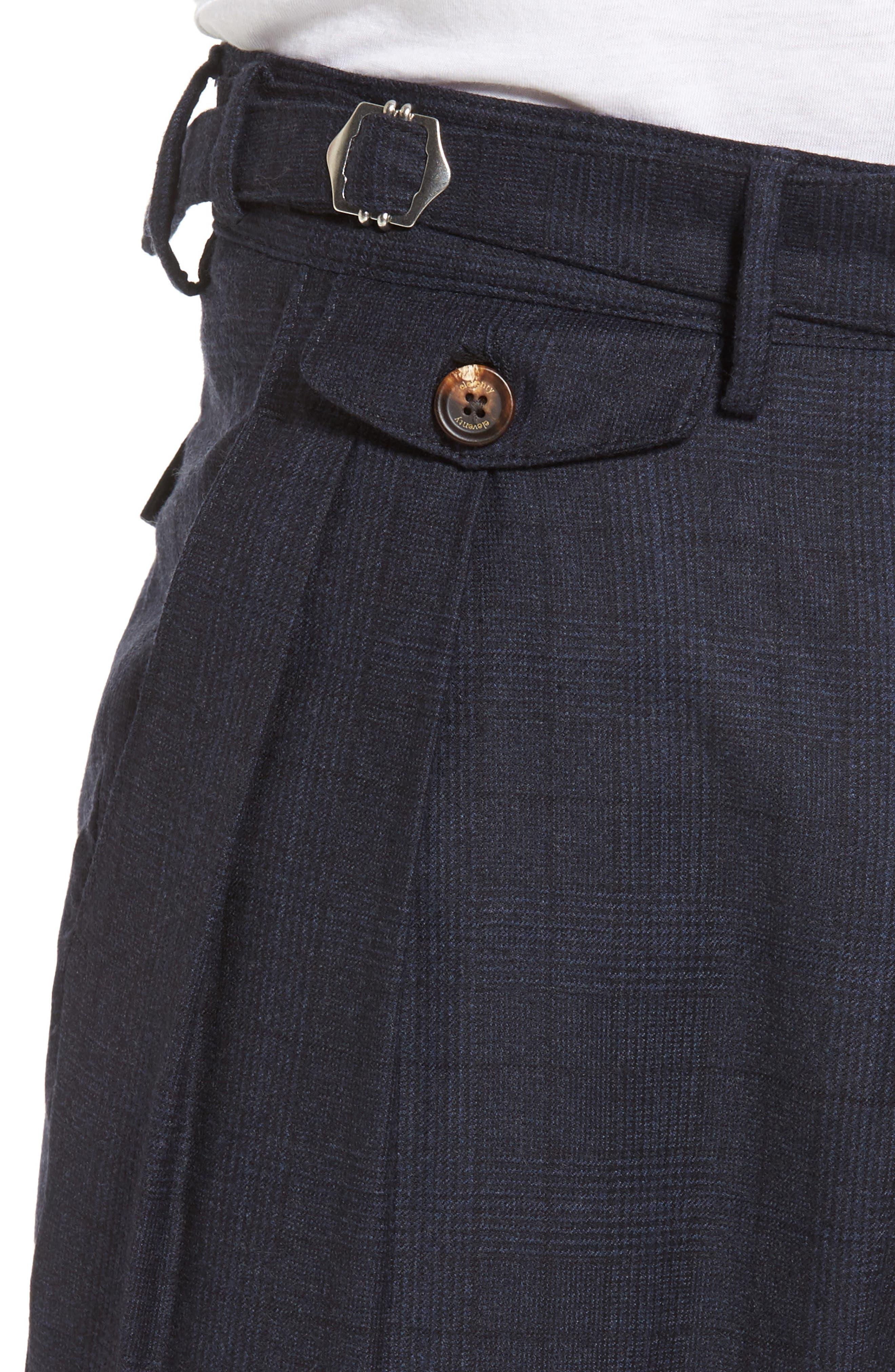 Glen Plaid Pleat Front Wool Pants,                             Alternate thumbnail 4, color,                             Navy