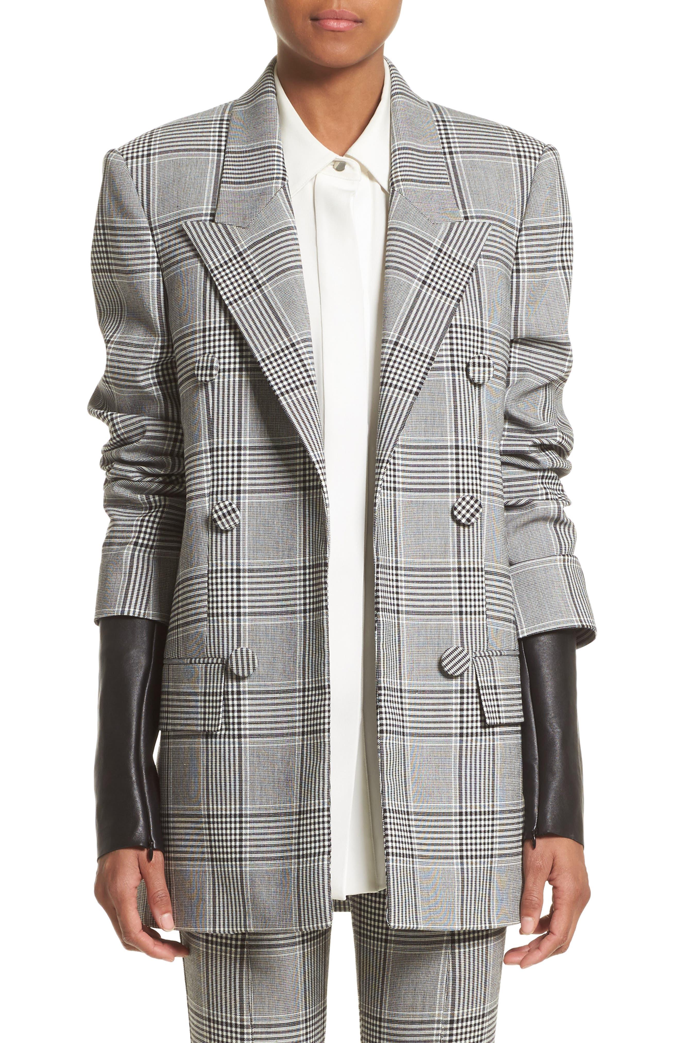 Leather Sleeve Check Blazer,                         Main,                         color, Black/ White