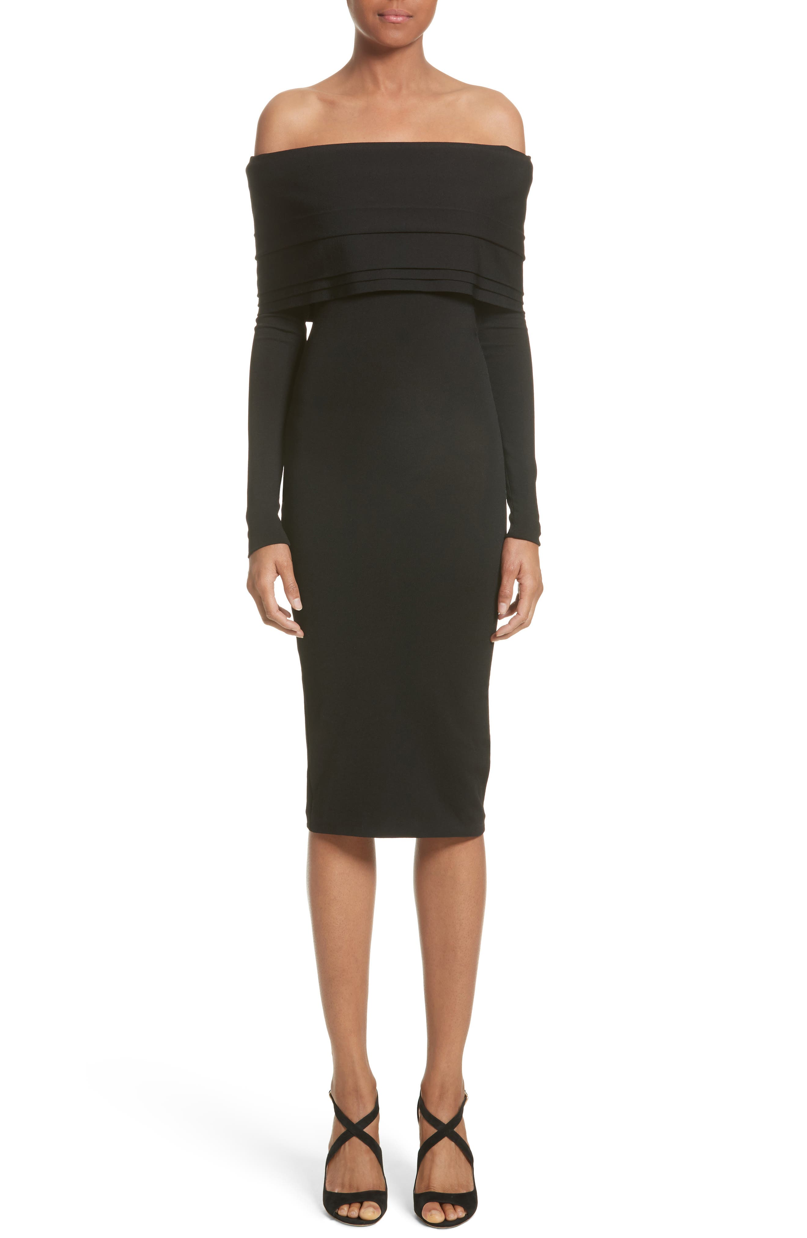 Brandon Maxwell Layered Knit Off the Shoulder Dress