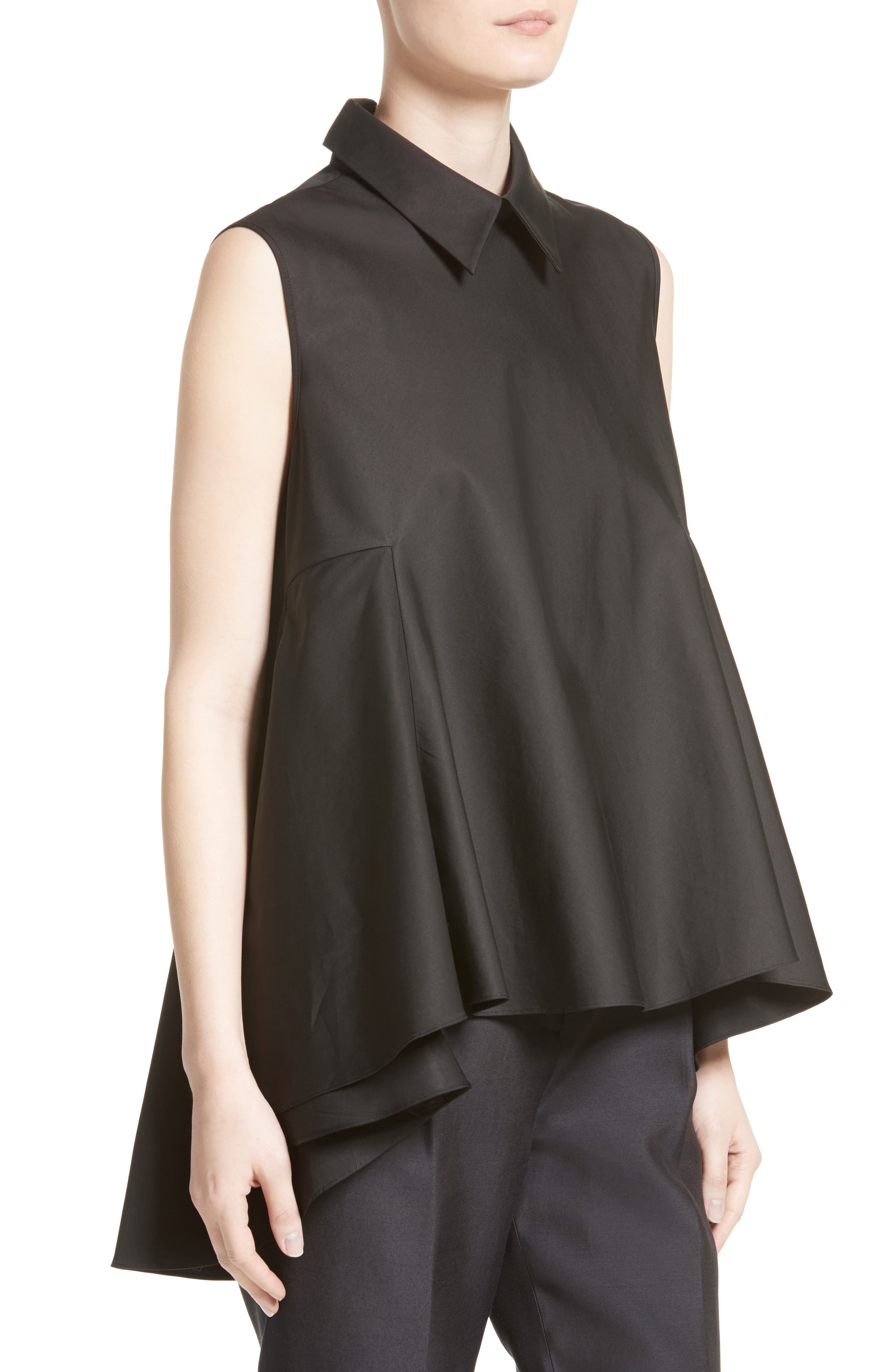 Cotton Cascade Hem Blouse,                             Alternate thumbnail 6, color,                             Black