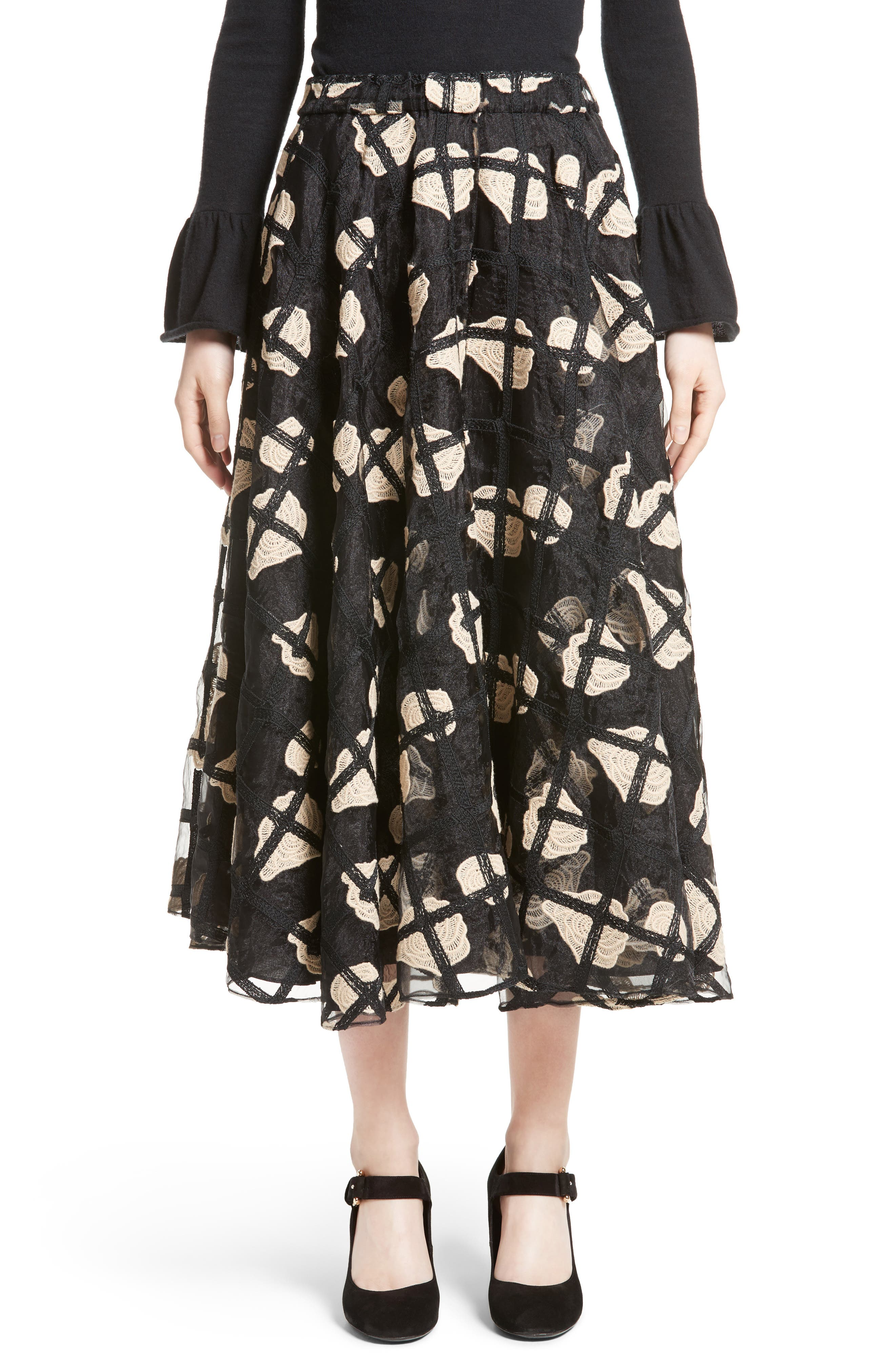 Floral Cage Lace Midi Skirt,                             Main thumbnail 1, color,                             Black