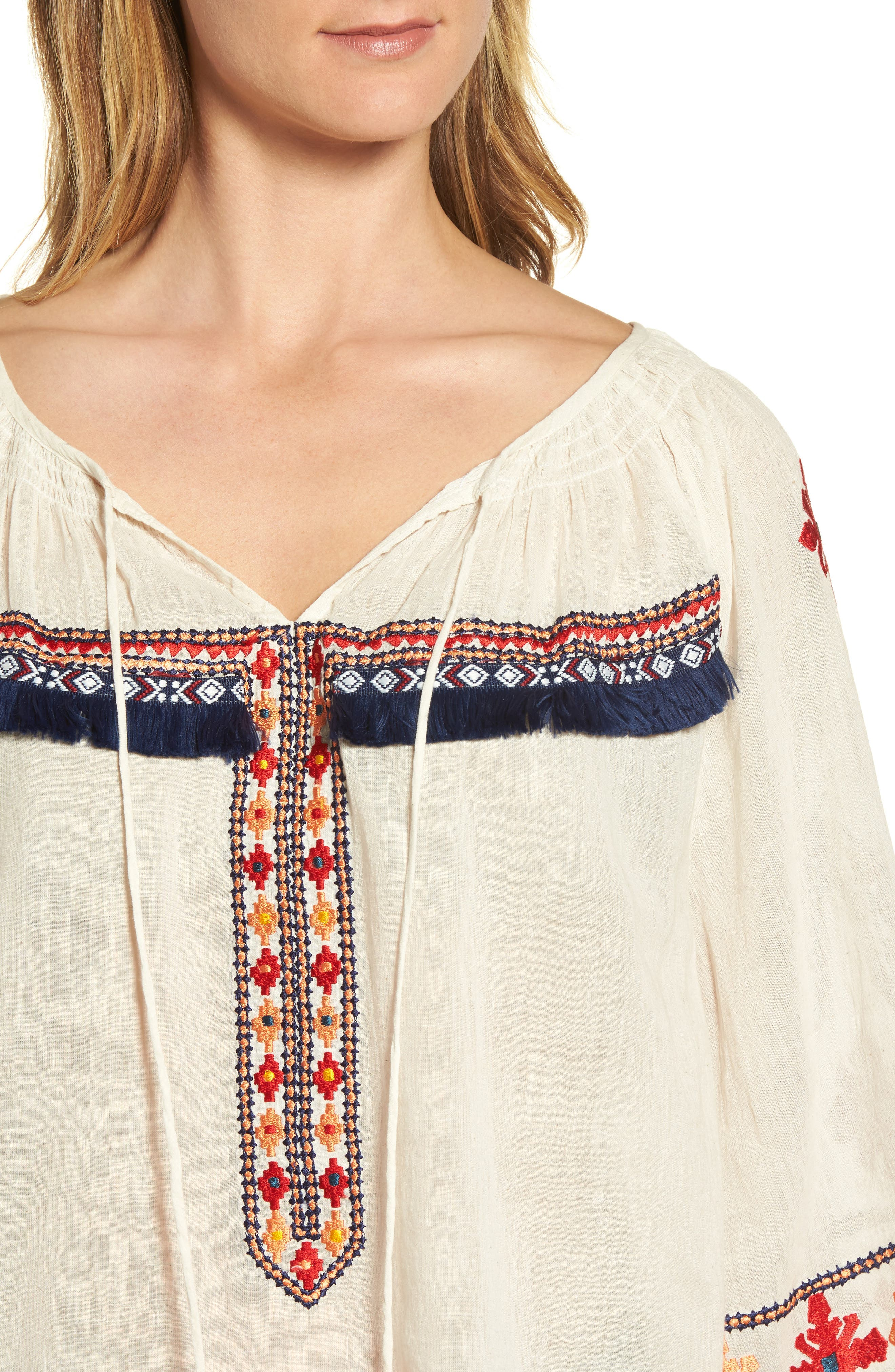 Juana Embroidered Peasant Top,                             Alternate thumbnail 4, color,                             Off White