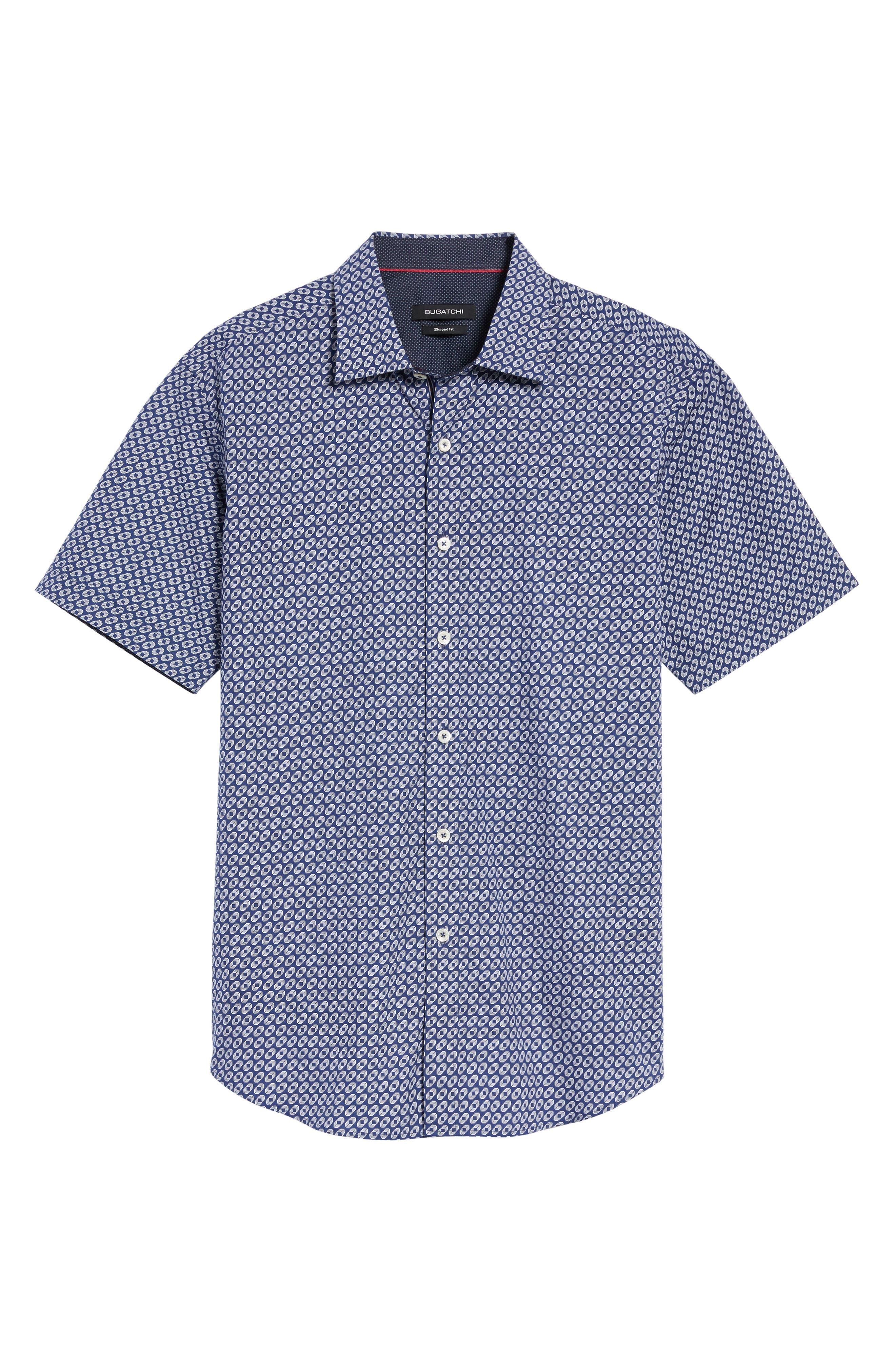 Alternate Image 6  - Bugatchi Shaped Fit Geo Print Sport Shirt