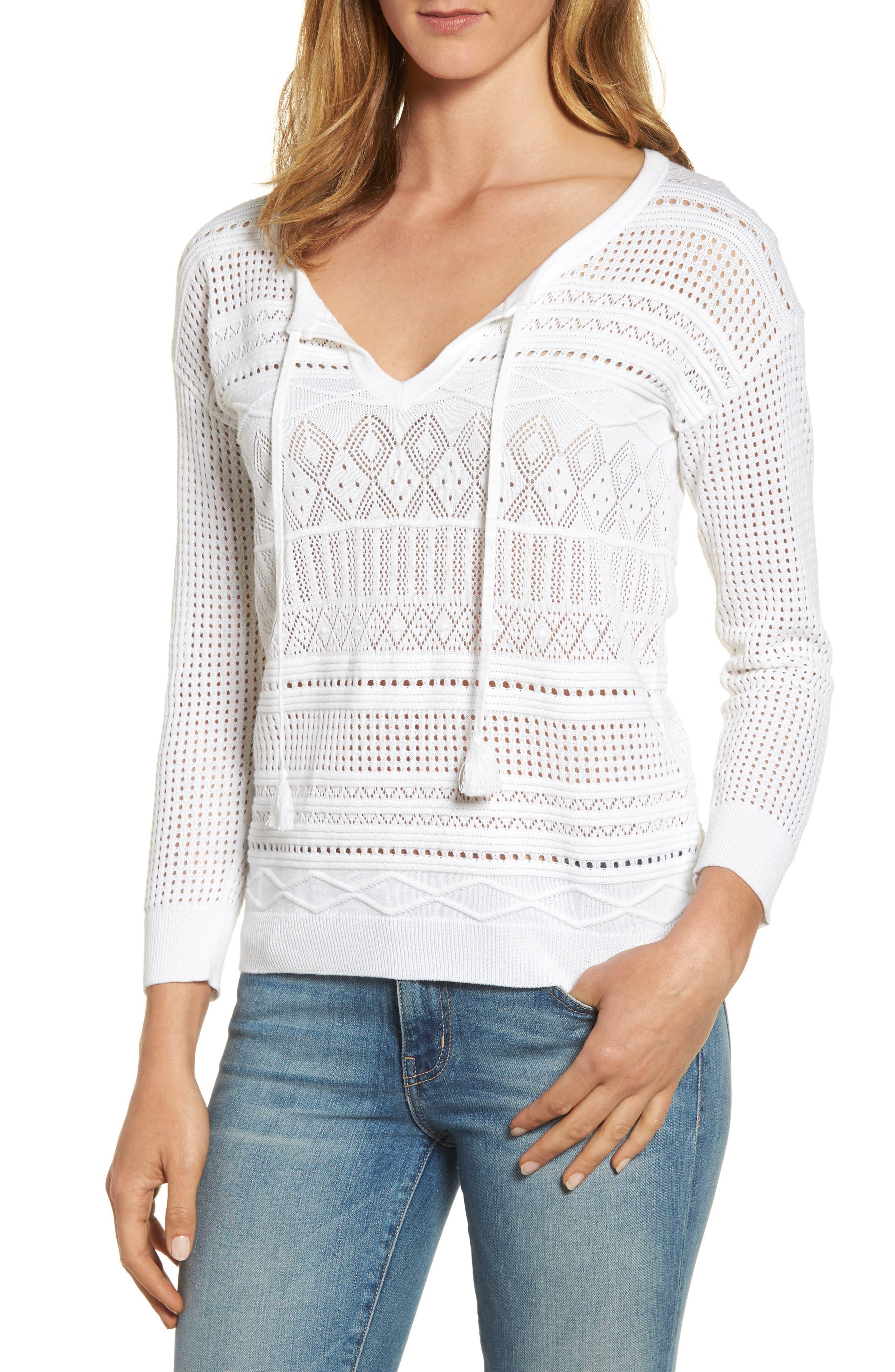 Pickford Pointelle Split Neck Sweater,                             Main thumbnail 1, color,                             White