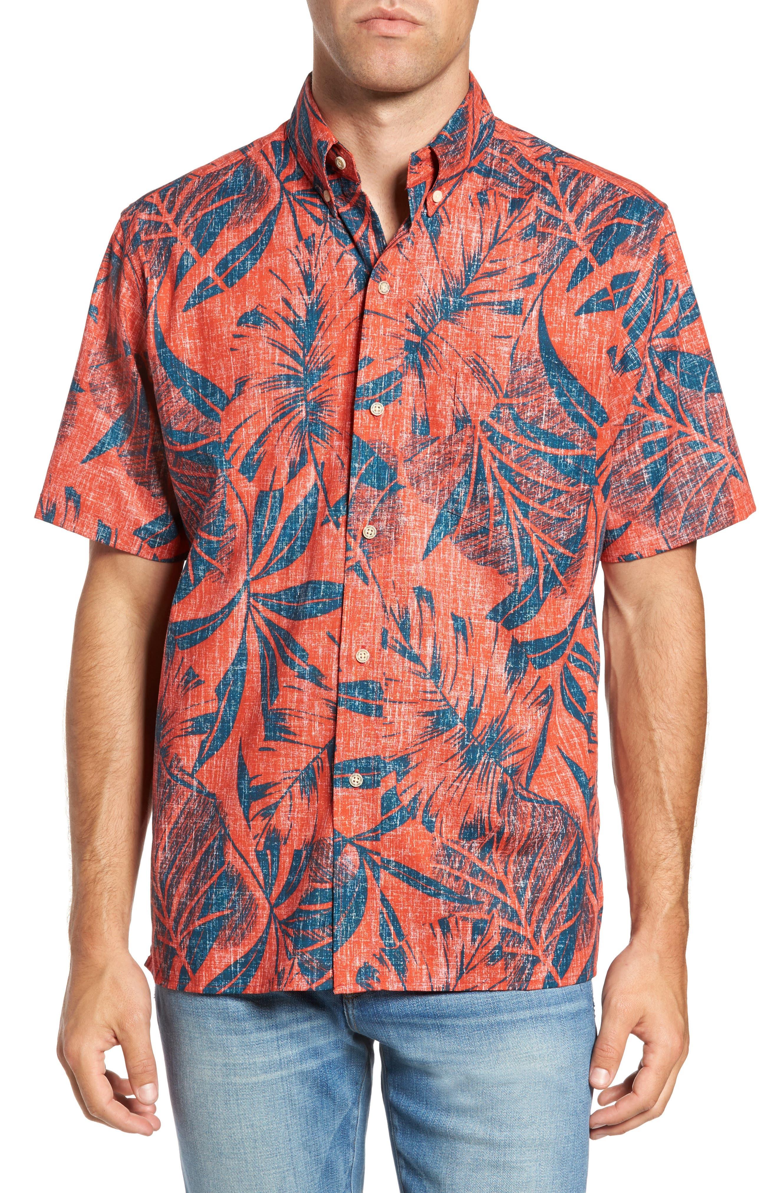 Kaha Lau Classic Fit Sport Shirt,                         Main,                         color, Coral