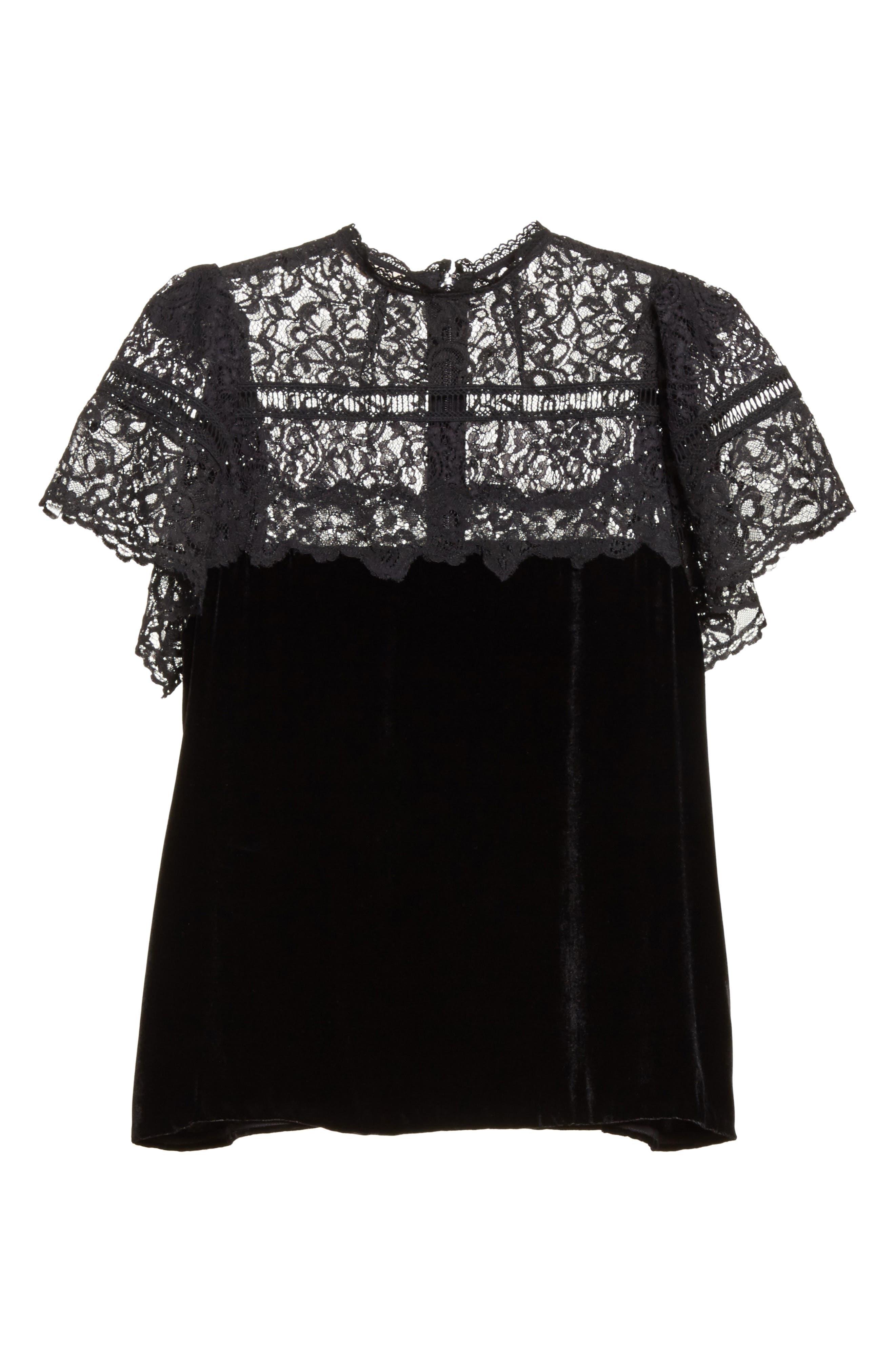 Short Sleeve Velvet & Lace Top,                             Alternate thumbnail 6, color,                             Black