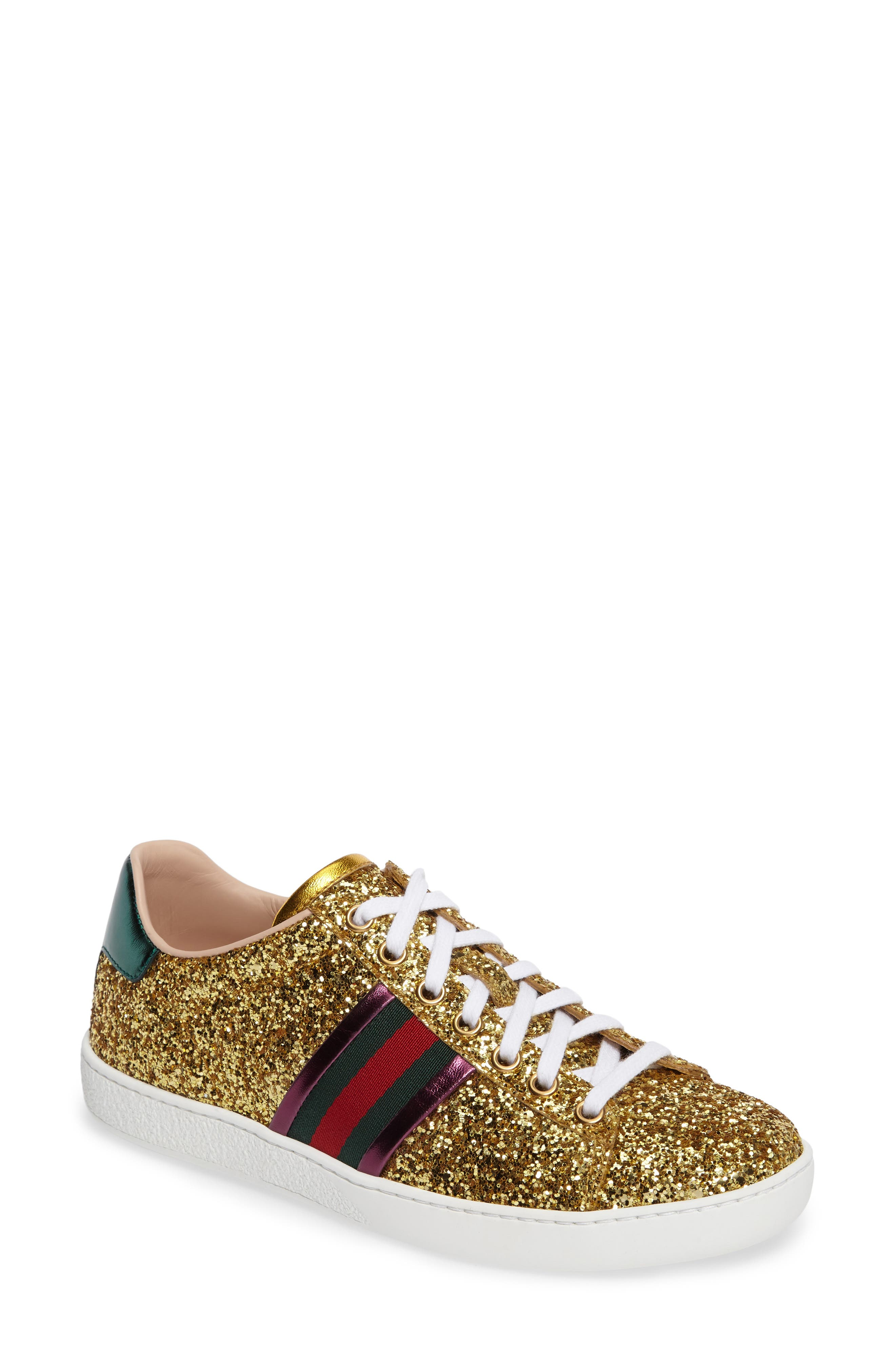Alternate Image 1 Selected - Gucci New Ace Glitter Sneaker (Women)