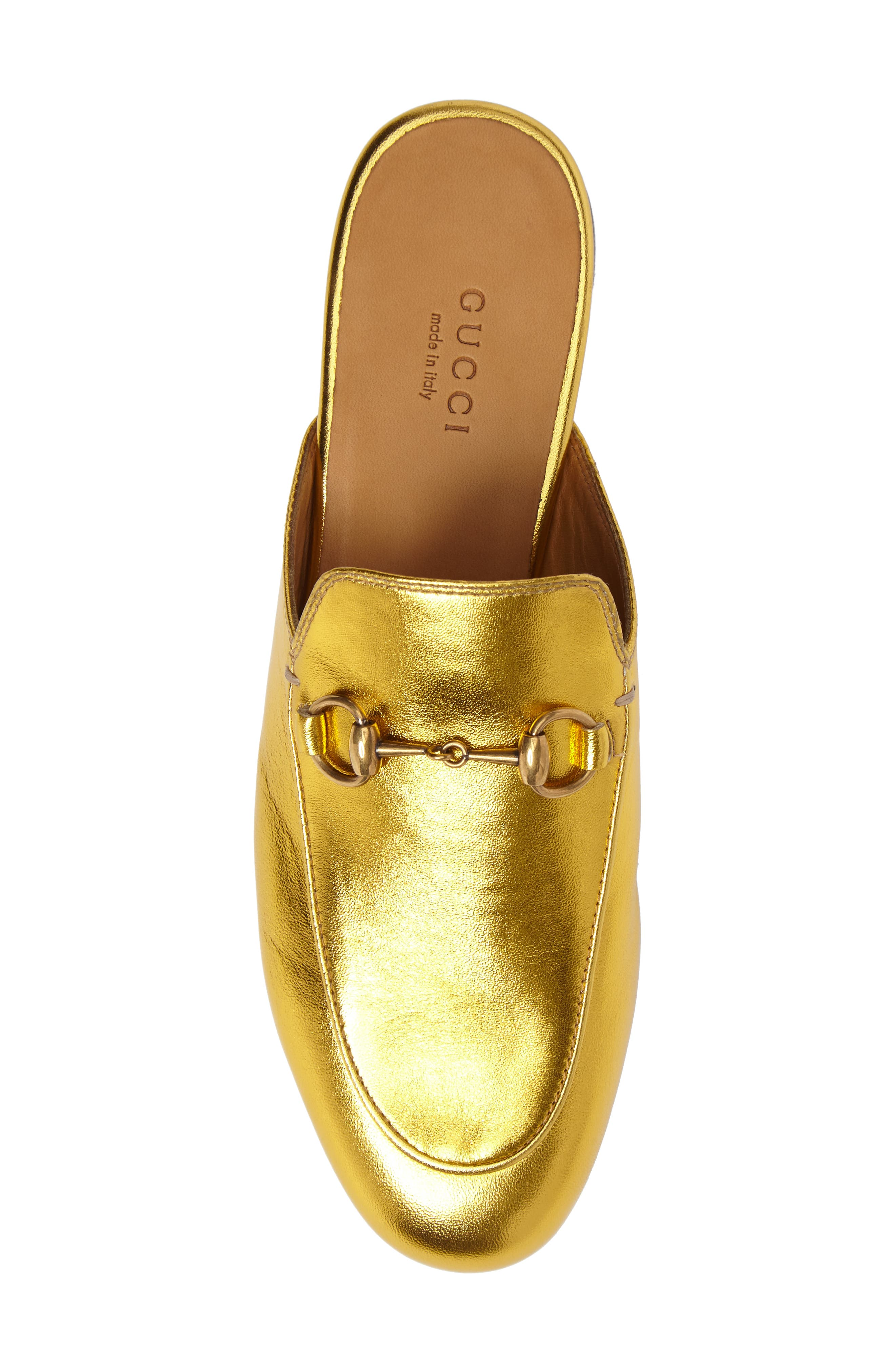 Princetown Loafer Mule,                             Alternate thumbnail 5, color,                             Metallic Gold Leather