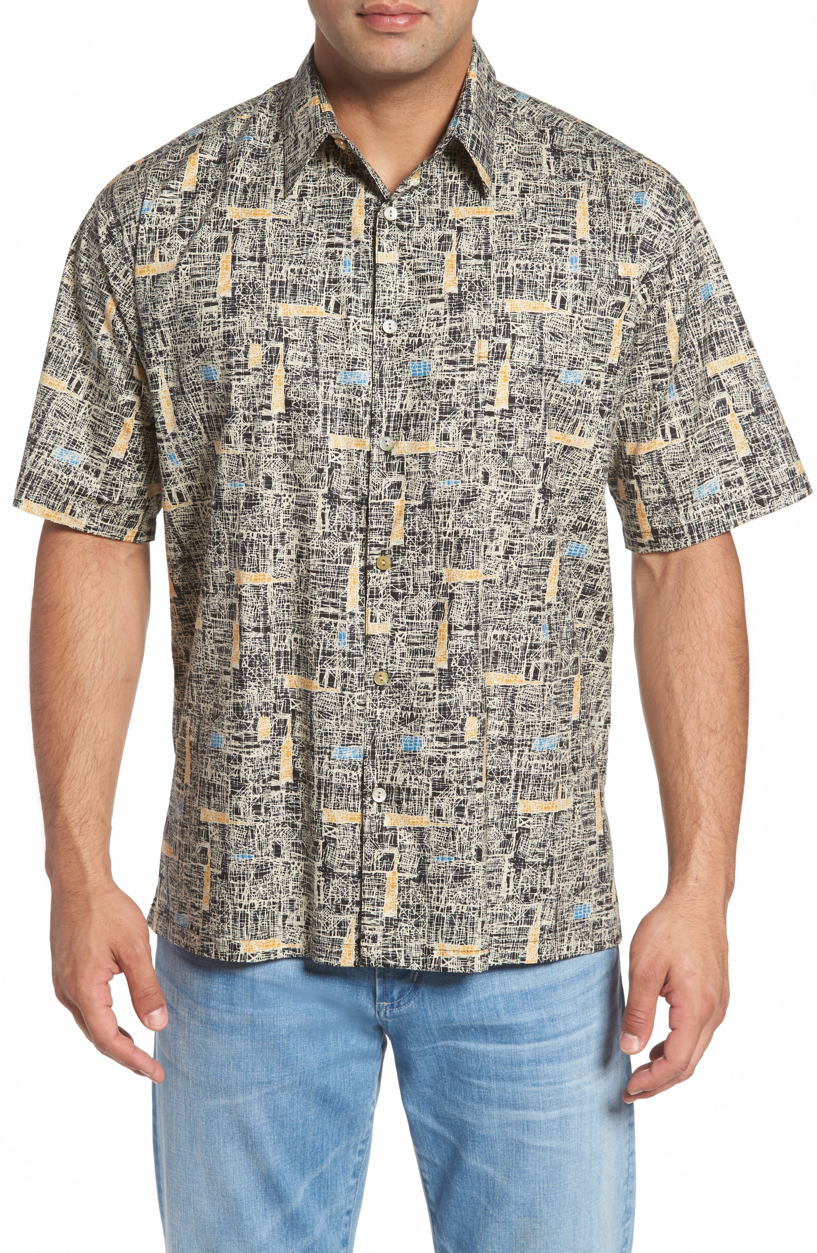 Jasper Abstract Print Camp Shirt,                         Main,                         color, Black