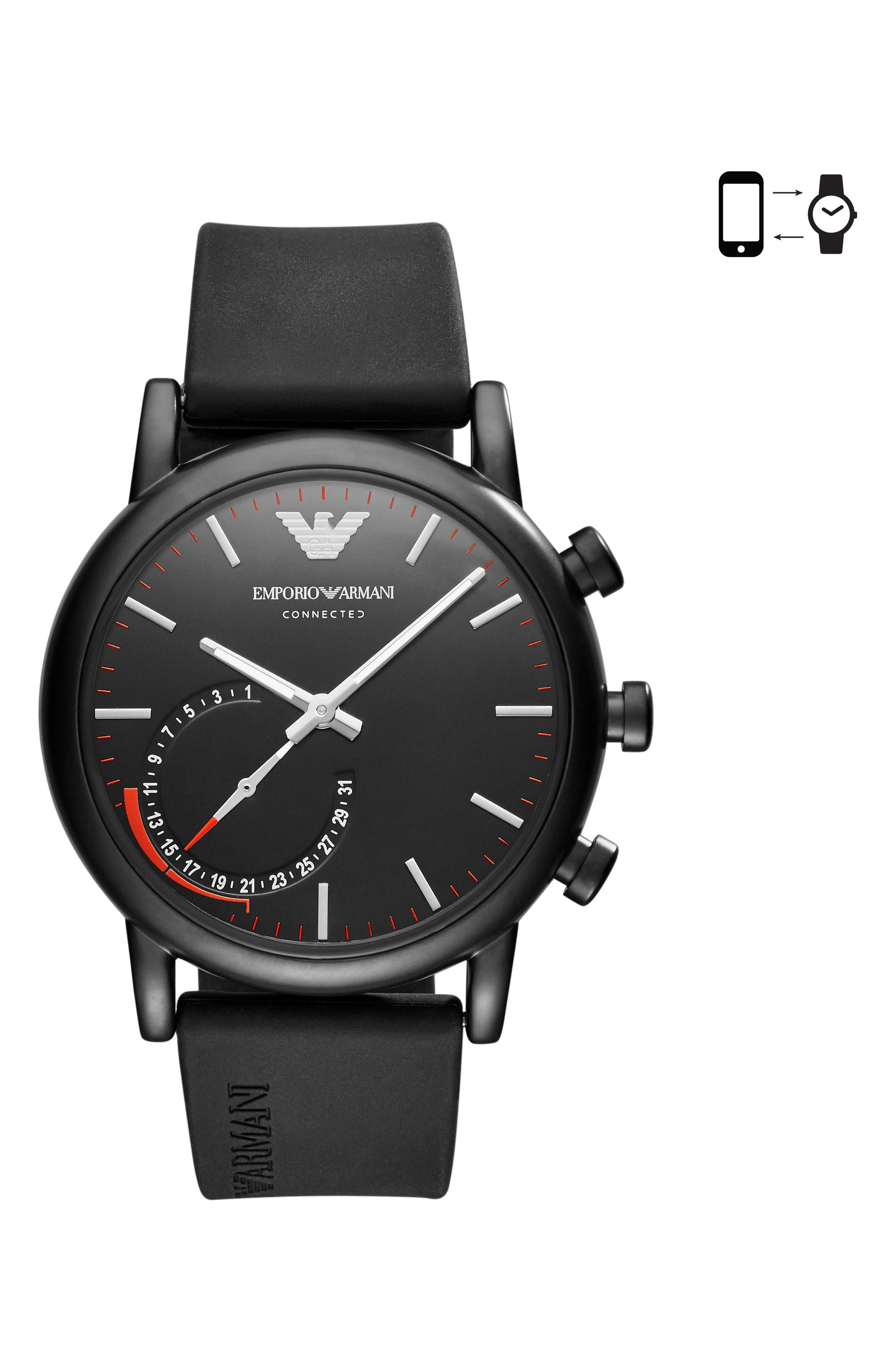 Silicone Strap Hybrid Smartwatch, 43mm,                             Main thumbnail 1, color,                             Black/ Black