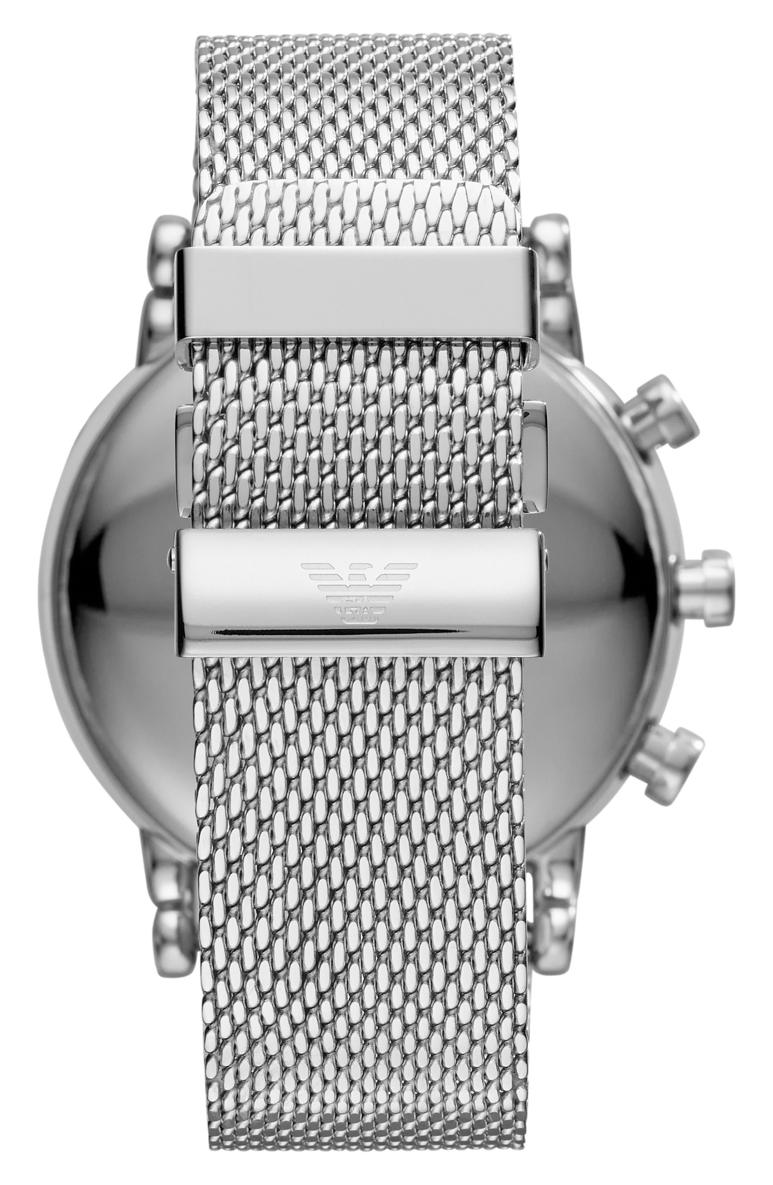 Mesh Bracelet Hybrid Smart Watch, 43mm,                             Alternate thumbnail 2, color,                             Black/ Silver