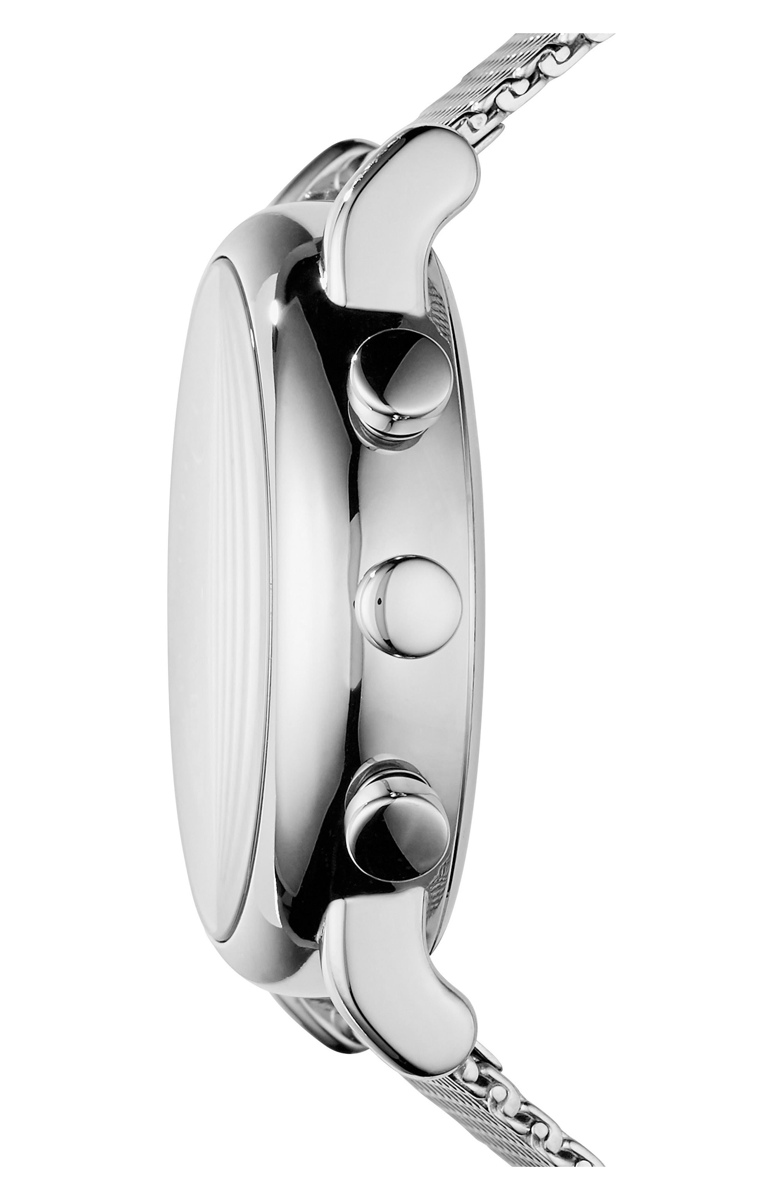 Mesh Bracelet Hybrid Smart Watch, 43mm,                             Alternate thumbnail 3, color,                             Black/ Silver
