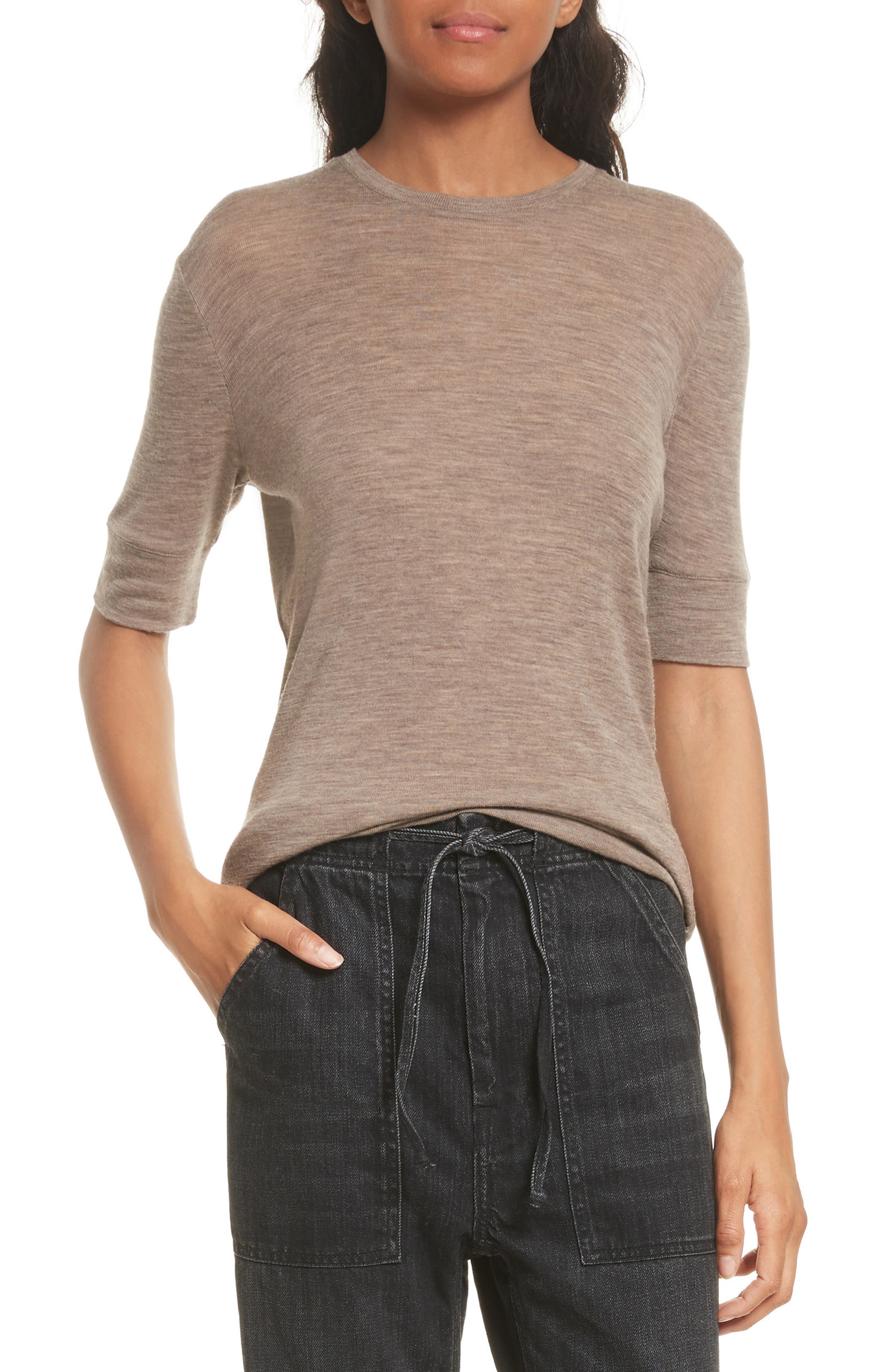 Short Sleeve Top,                         Main,                         color, Dark Camel