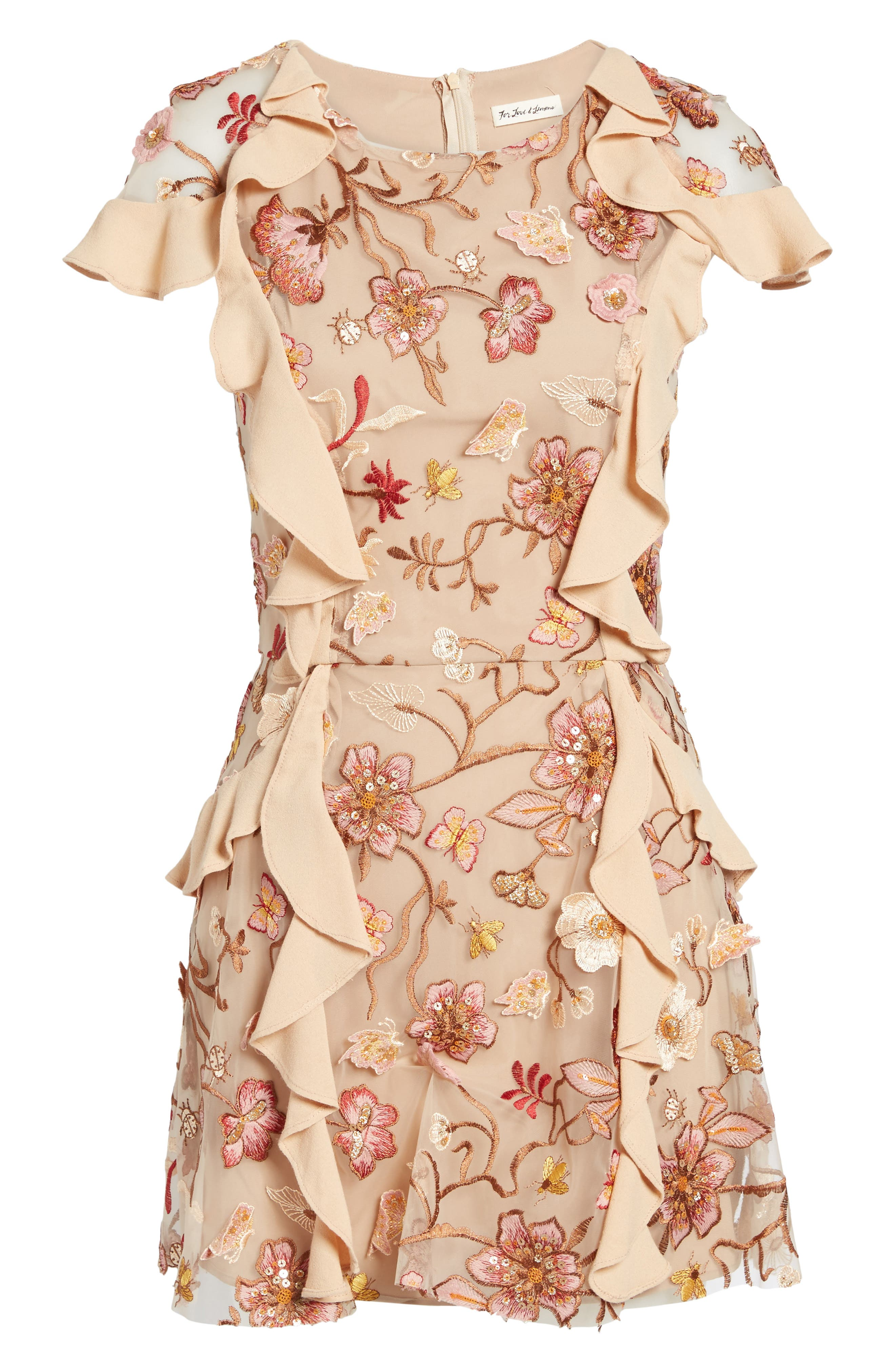 Botanical Embroidered Ruffle Minidress,                             Alternate thumbnail 6, color,                             Nude Floral
