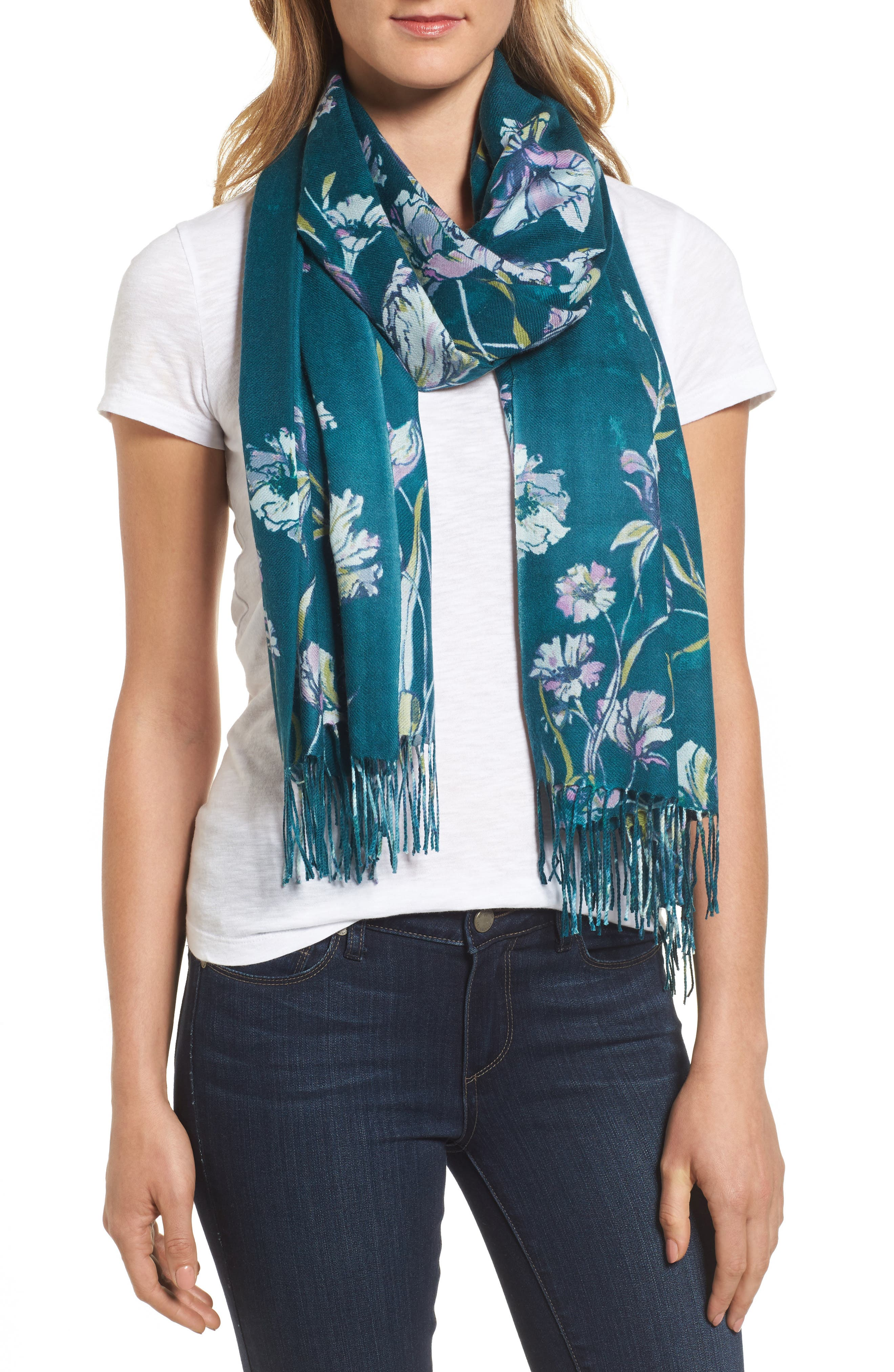 Cambridge Print Wool & Cashmere Scarf,                         Main,                         color, Teal Combo