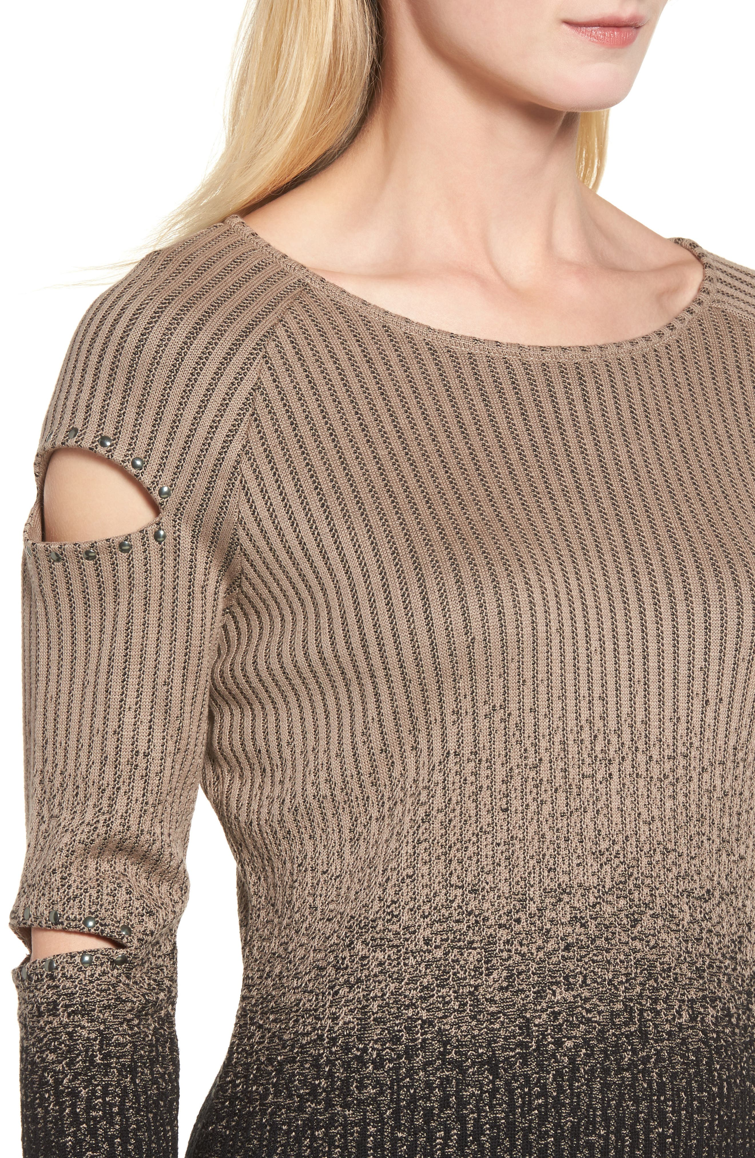 Alternate Image 4  - Ming Wang Cutout Sleeve Ribbed Sweater