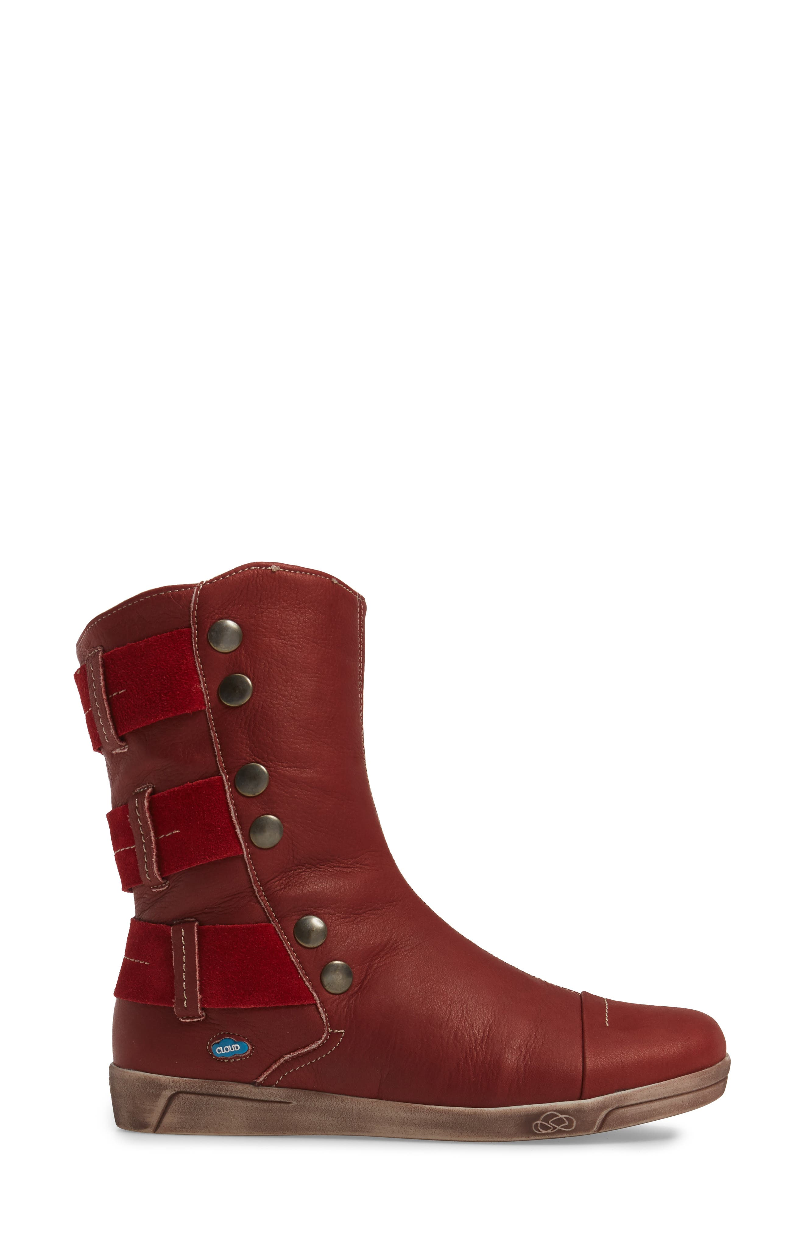 Amber Wool Lined Bootie,                             Alternate thumbnail 3, color,                             Red Leather