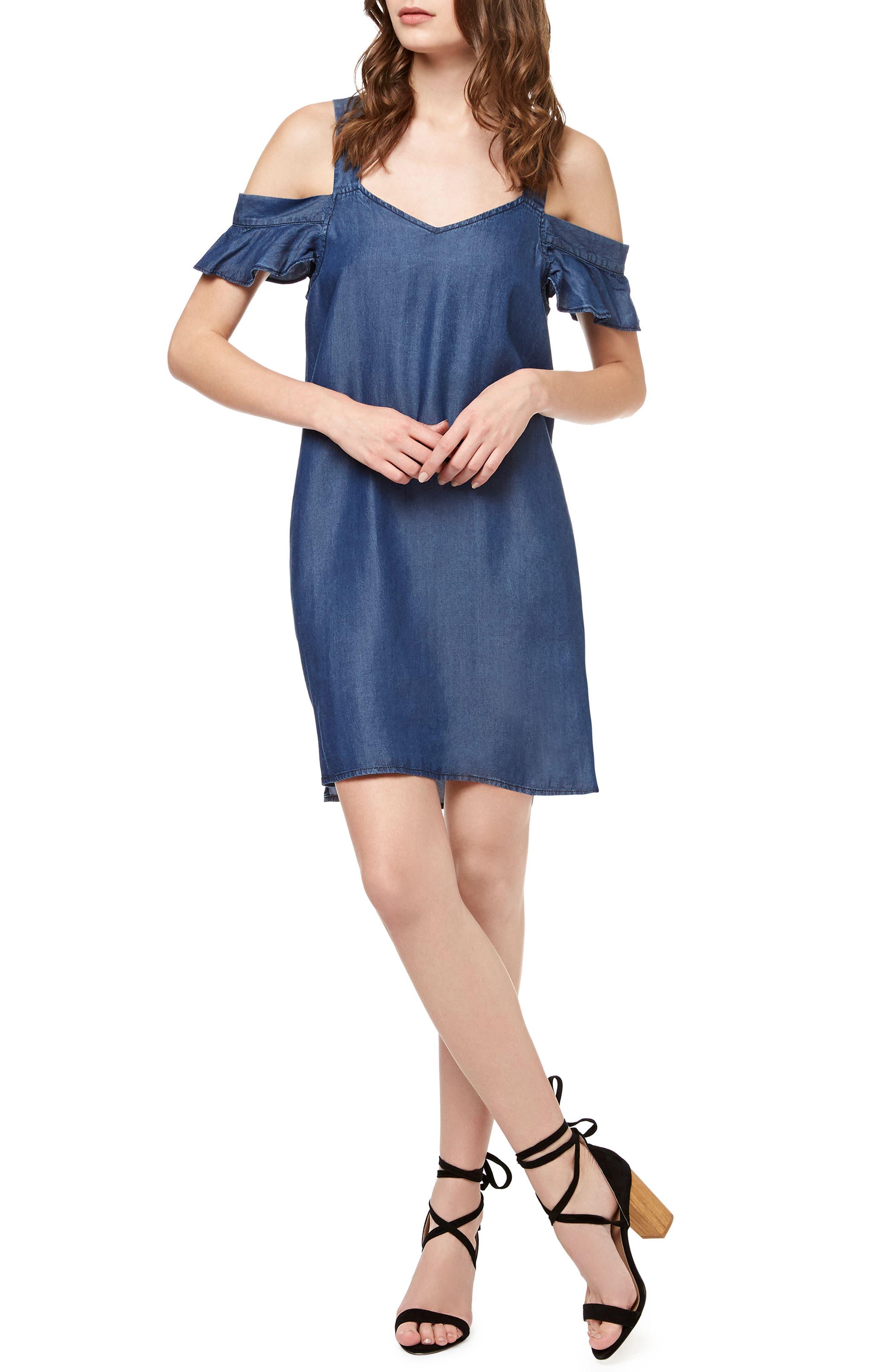 Madeline Denim Off the Shoulder Dress,                         Main,                         color, Dark Wash