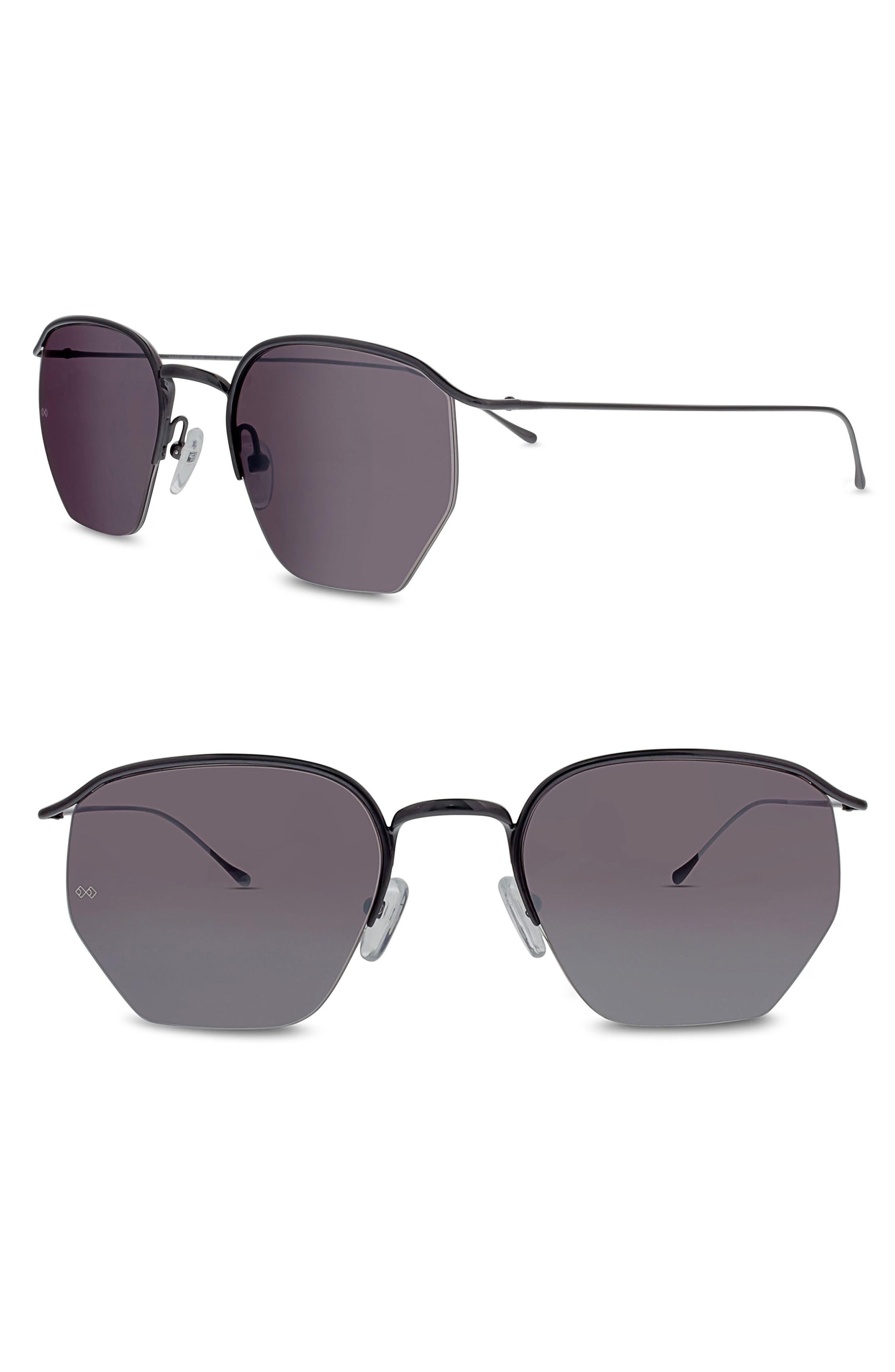 Geo I 51mm Semi Rimless Sunglasses,                         Main,                         color, Gunmetal/ Silver Mirror
