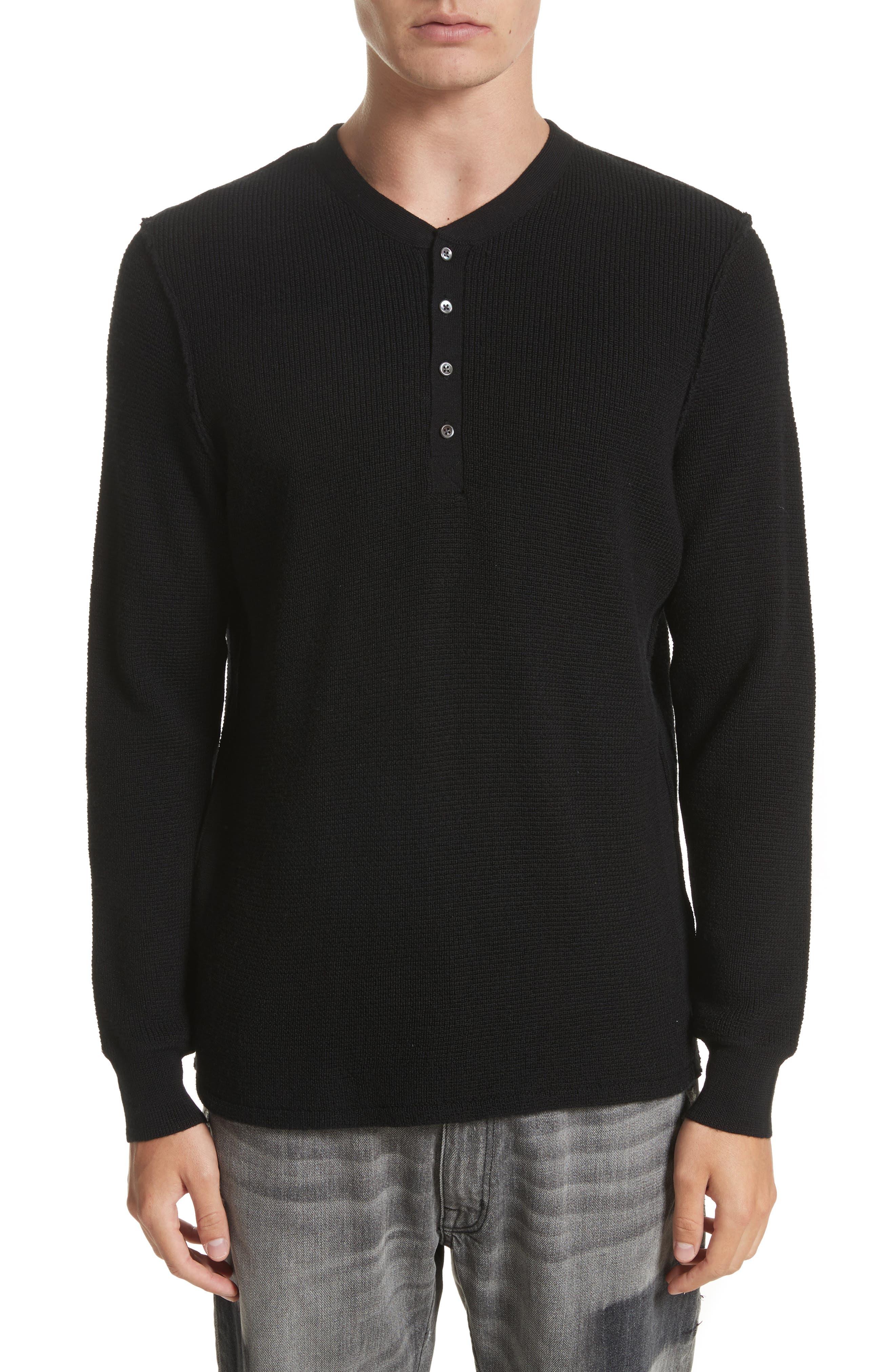 Long Sleeve Wool Henley,                         Main,                         color, Black