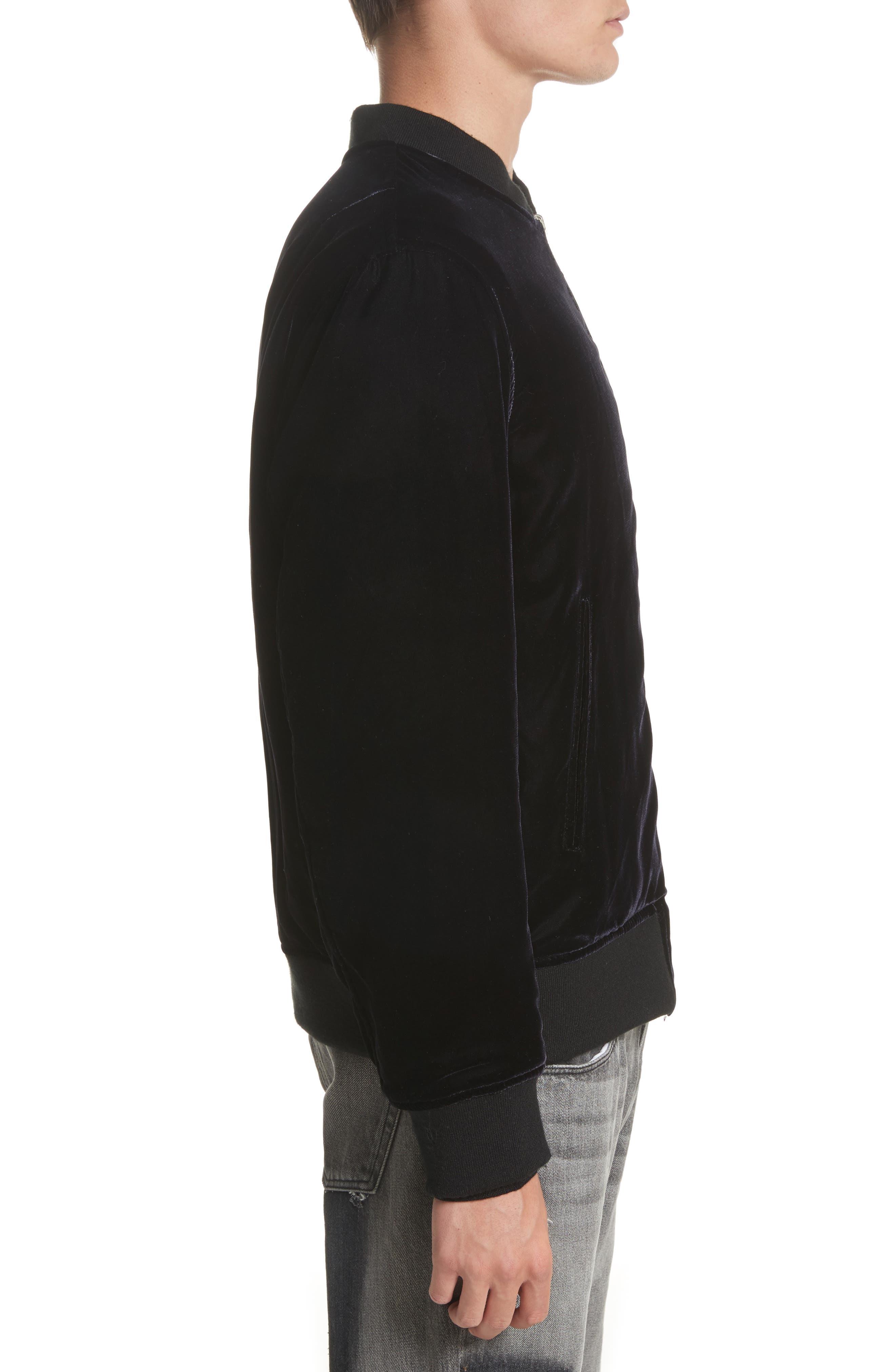 OS-1 Reversible Velvet Bomber Jacket,                             Alternate thumbnail 3, color,                             Black