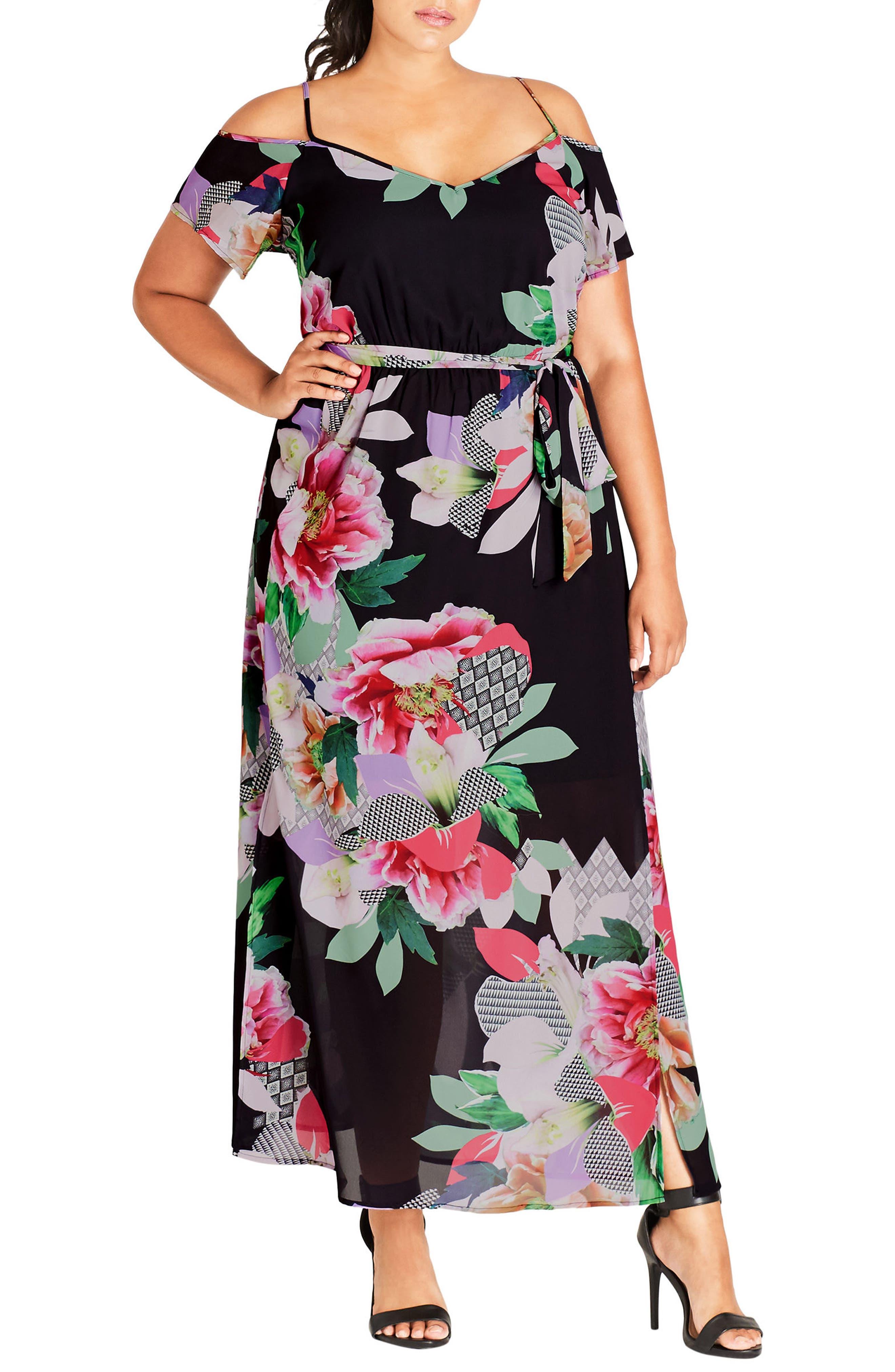 Romantic Pop Maxi Dress,                         Main,                         color, Lipstick Floral