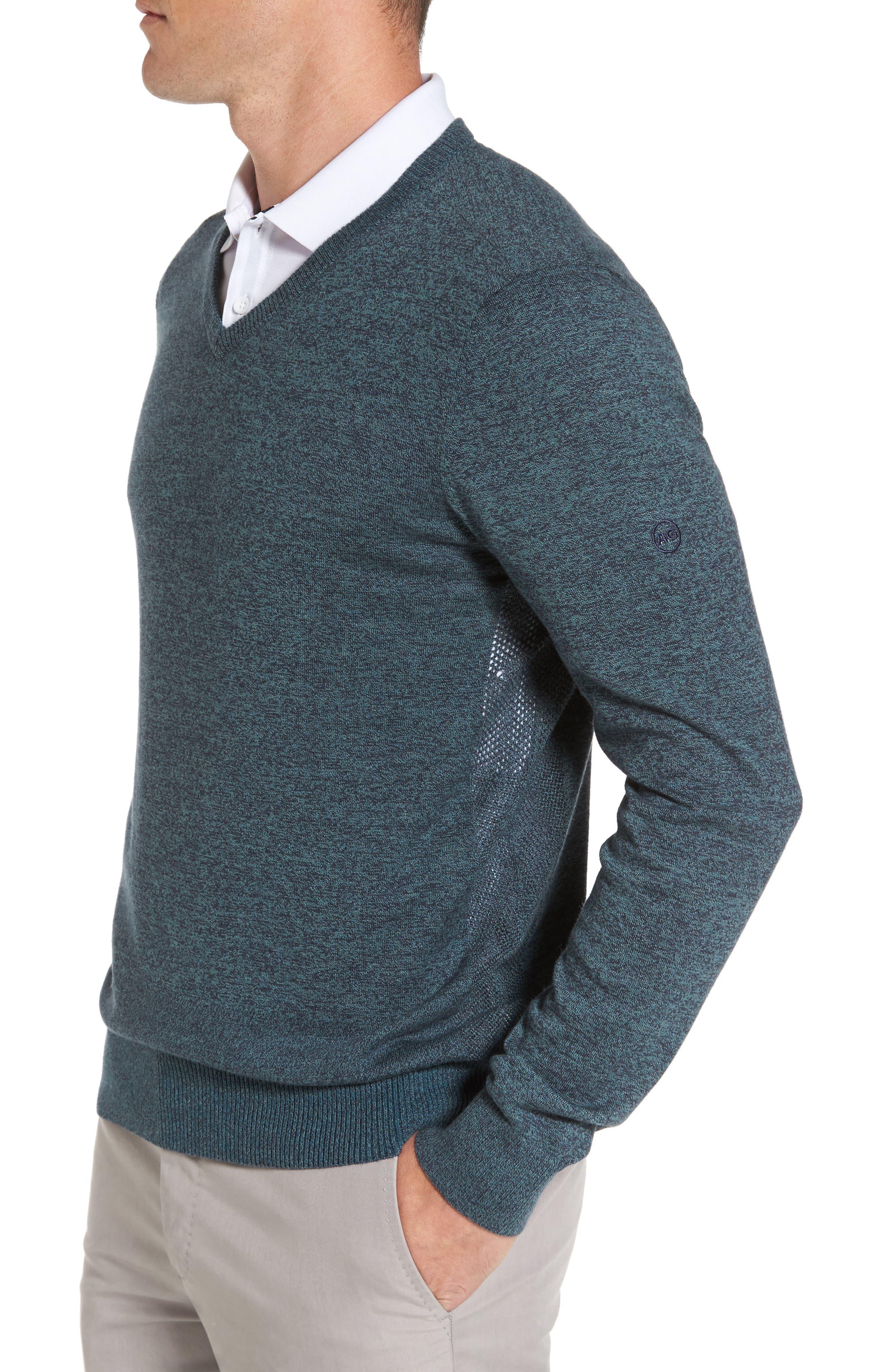 Ridgewood V-Neck Sweater,                             Alternate thumbnail 3, color,                             Turf/ Naval Blue Melange