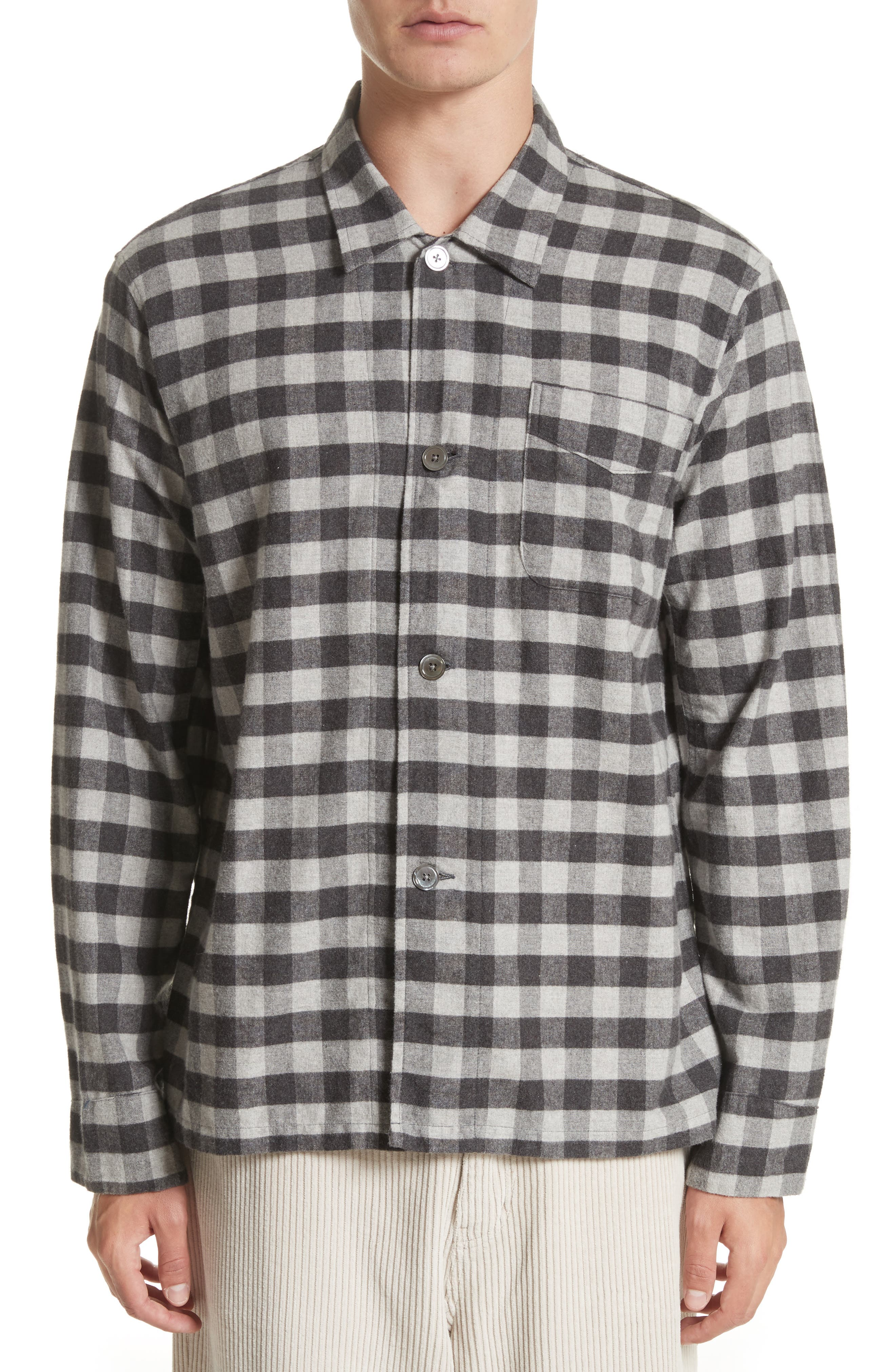 Buffalo Check Flannel Sport Shirt,                             Main thumbnail 1, color,                             Black