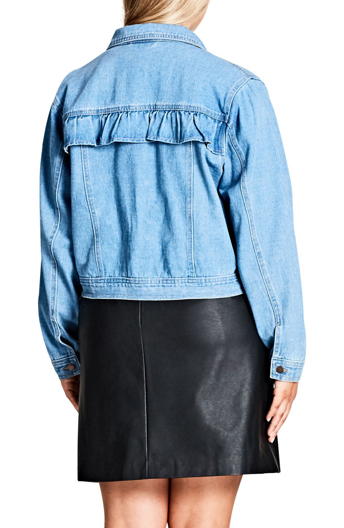 Alternate Image 2  - City Chic Ruffle Denim Jacket (Plus Size)