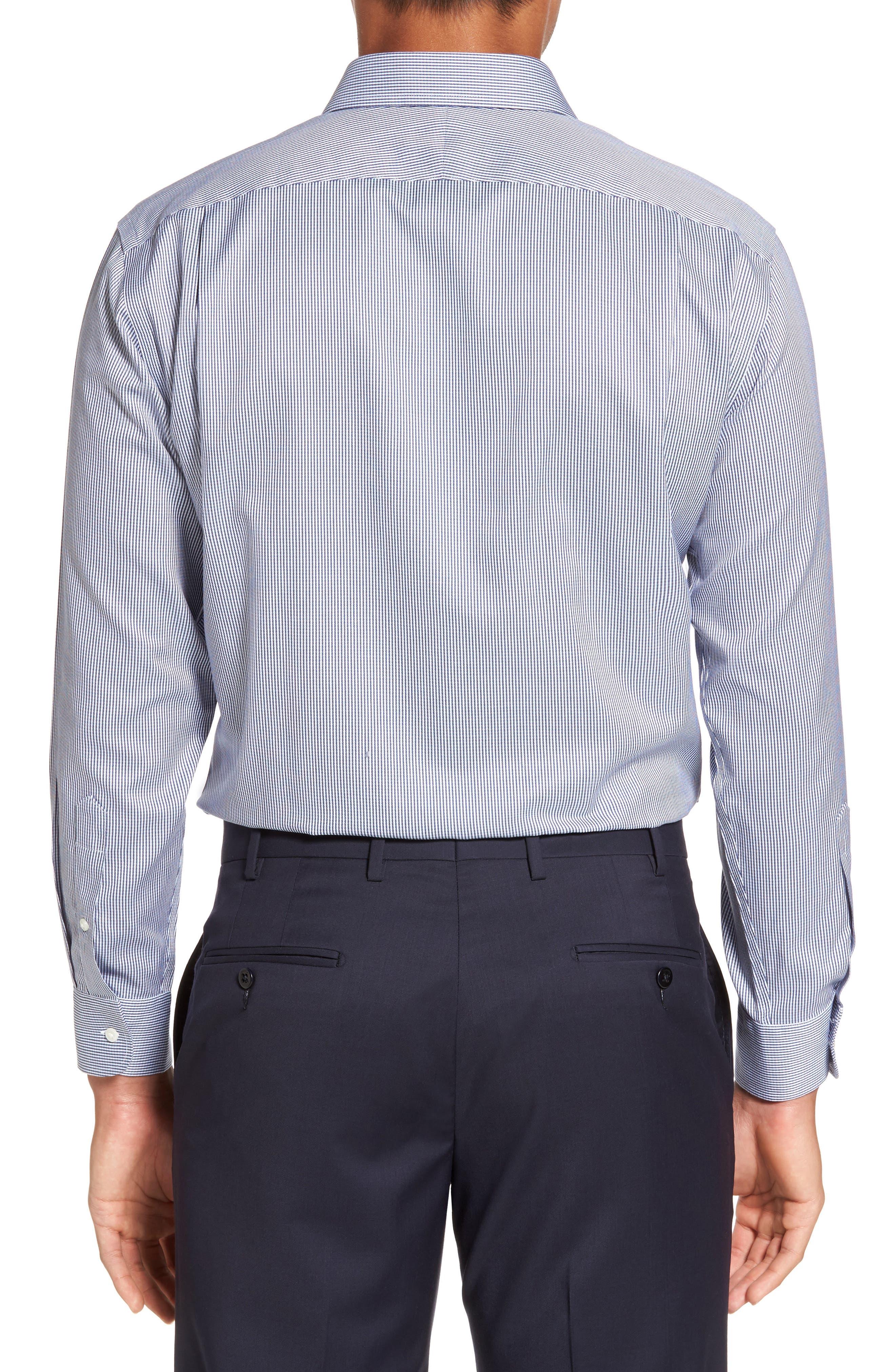 Smartcare<sup>™</sup> Trim Fit Stripe Dress Shirt,                             Alternate thumbnail 3, color,                             Blue Bisou