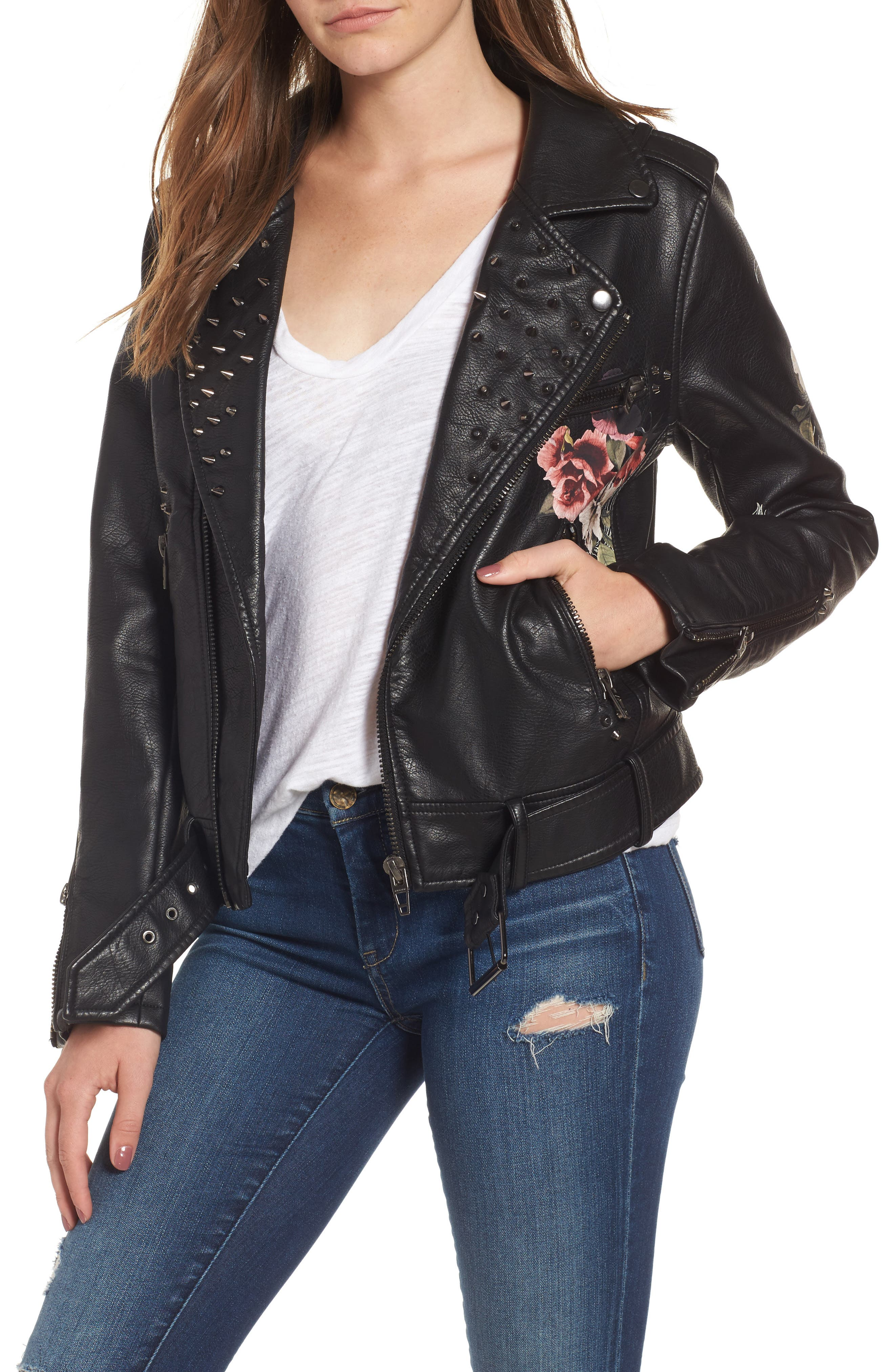 Printed Faux Leather Moto Jacket,                             Main thumbnail 1, color,                             Love And Leave