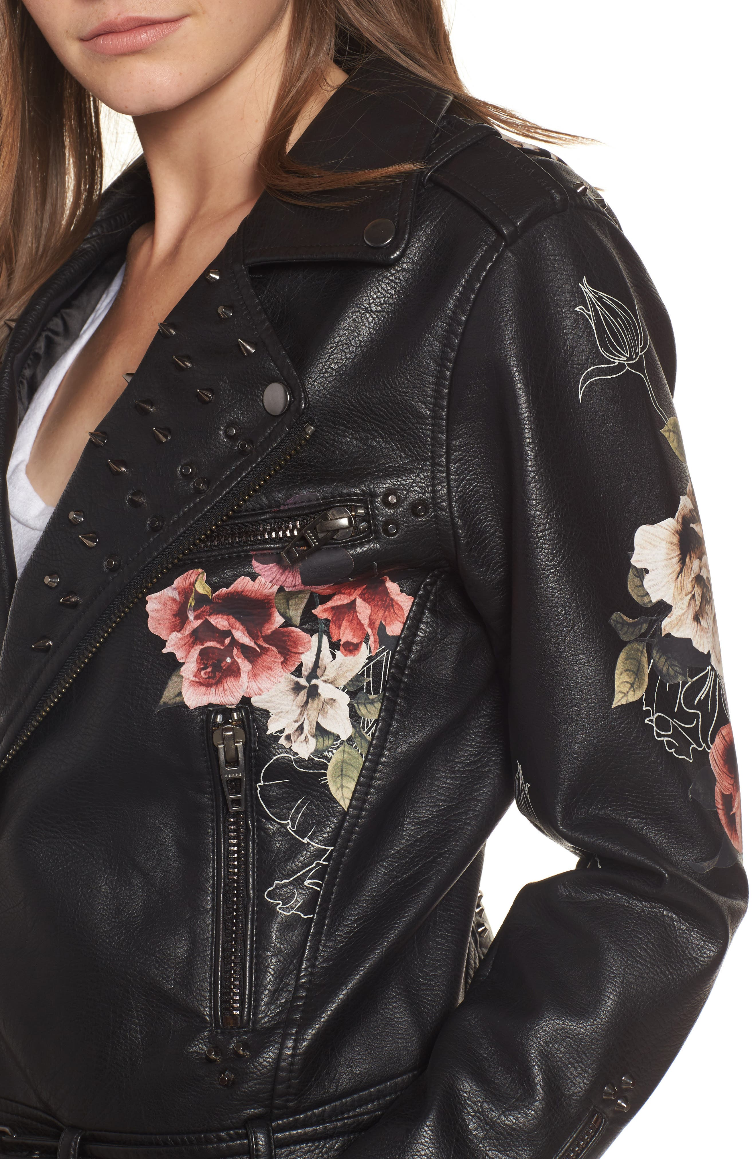 Printed Faux Leather Moto Jacket,                             Alternate thumbnail 5, color,                             Love And Leave
