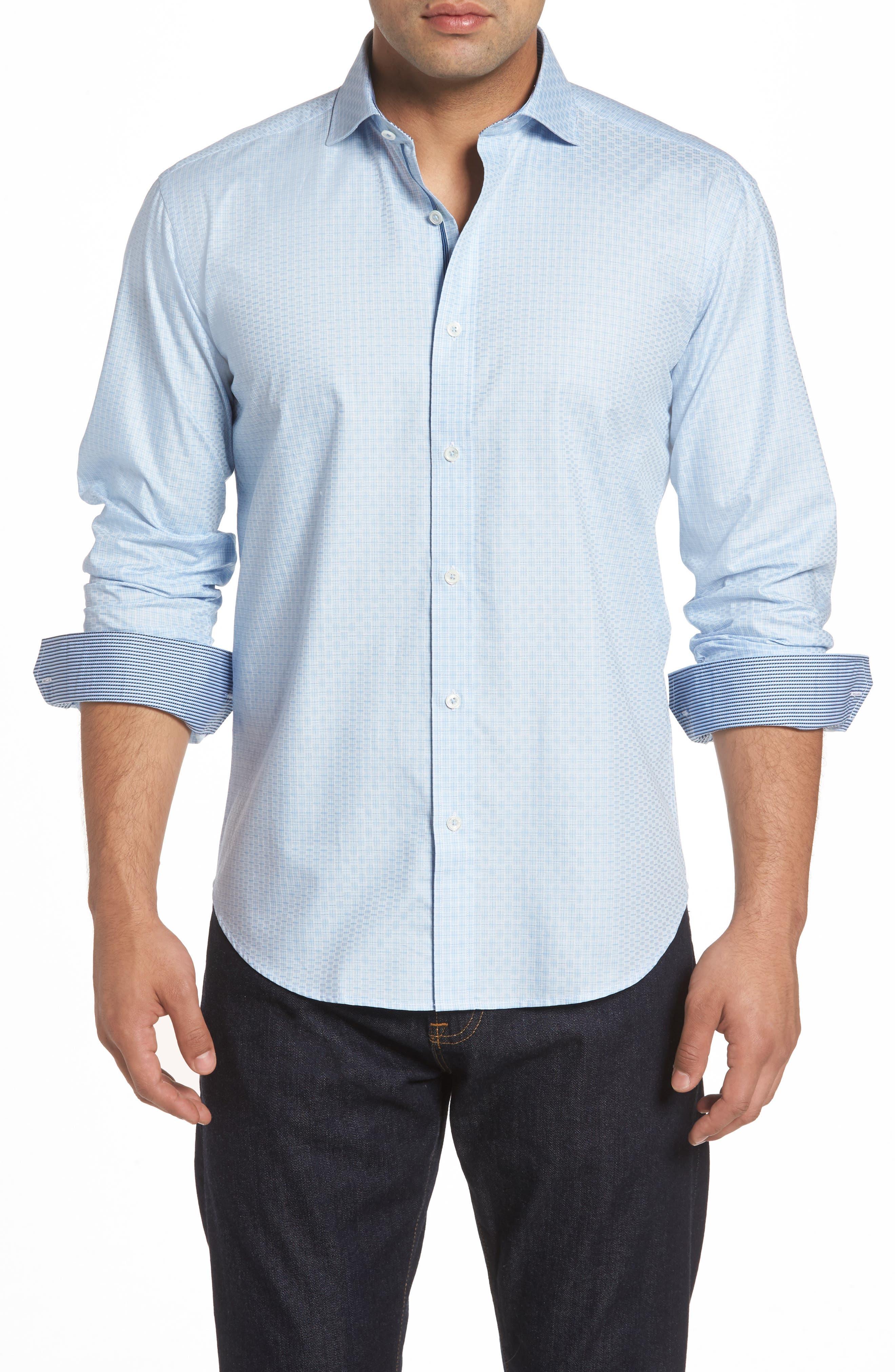 Shaped Fit Check Sport Shirt,                         Main,                         color, Sky