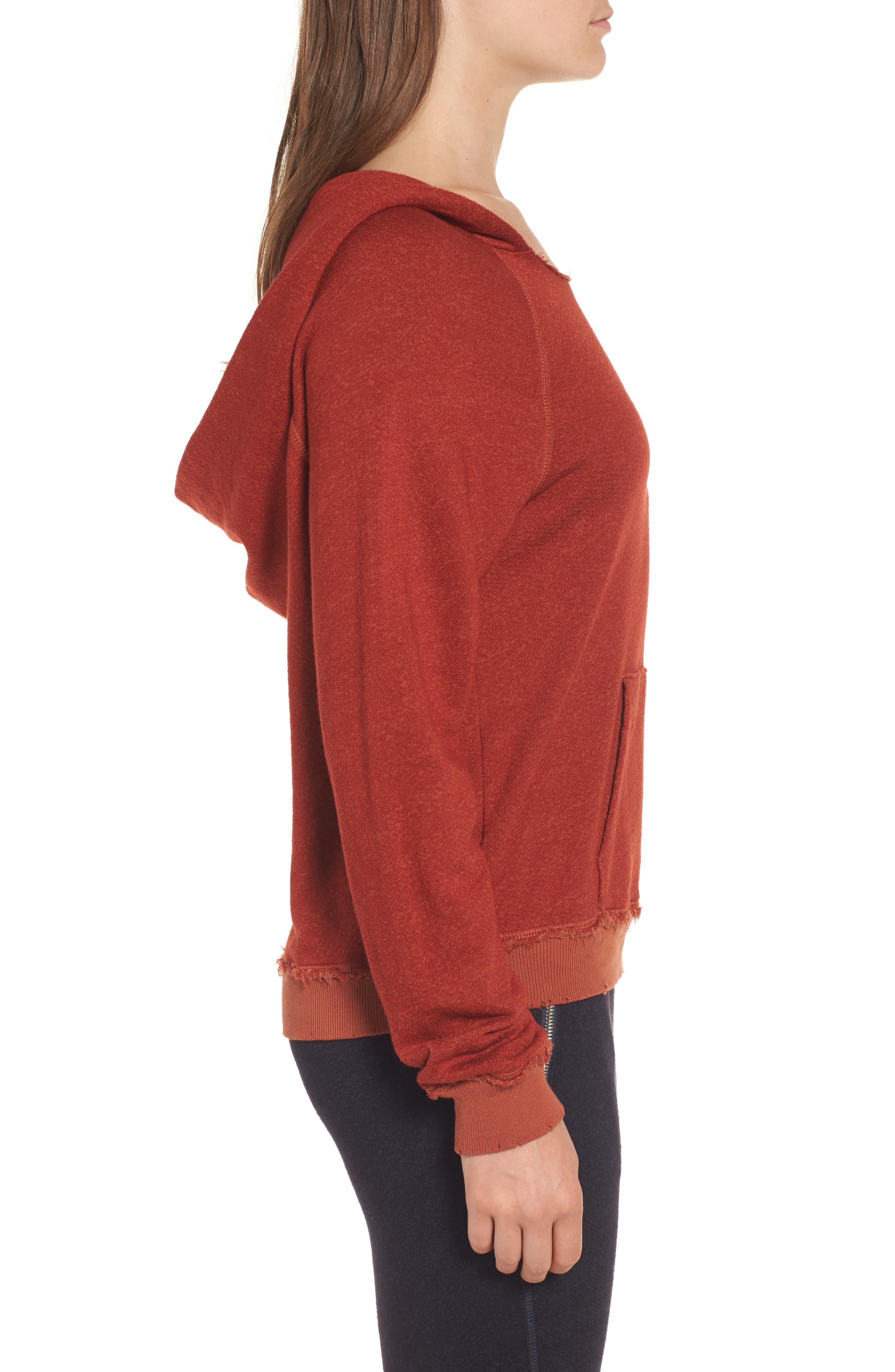 Penny Hooded Sweatshirt,                             Alternate thumbnail 3, color,                             Rust