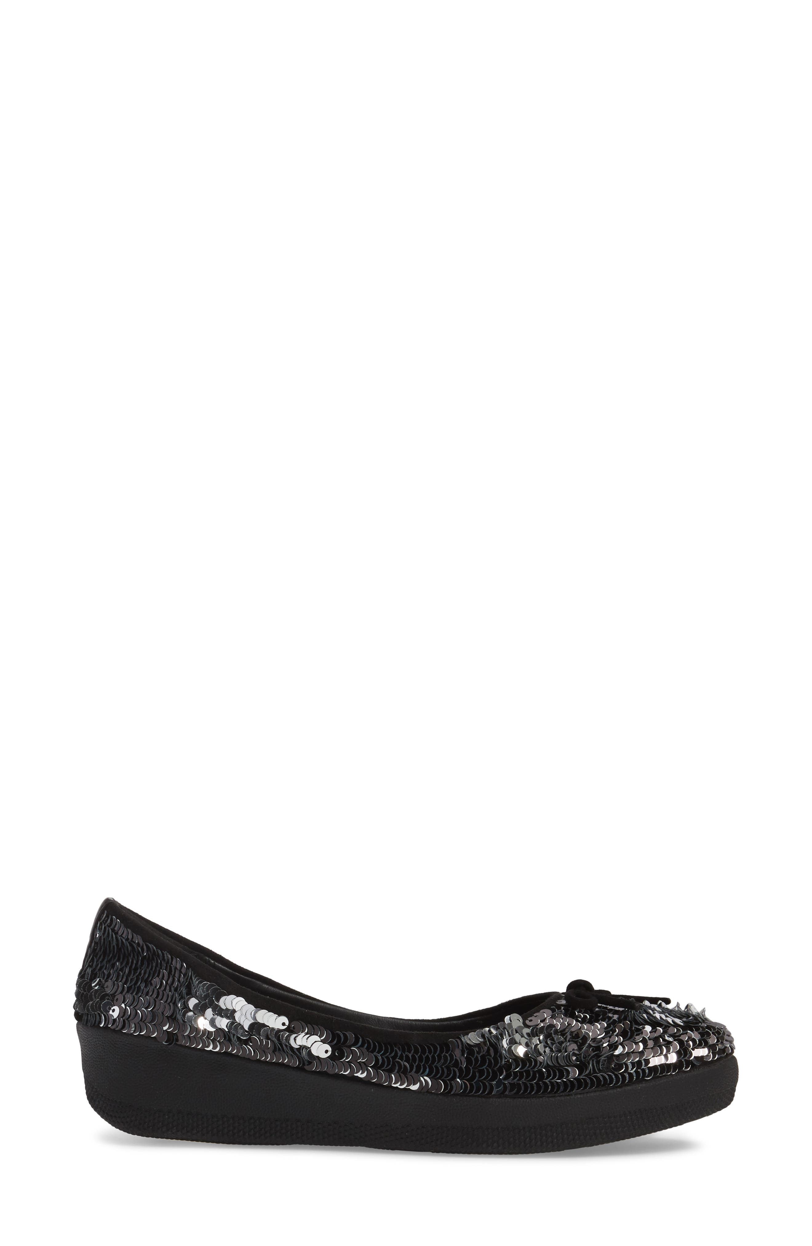 Superballerina Sequin Ballet Flat,                             Alternate thumbnail 3, color,                             Black Fabric