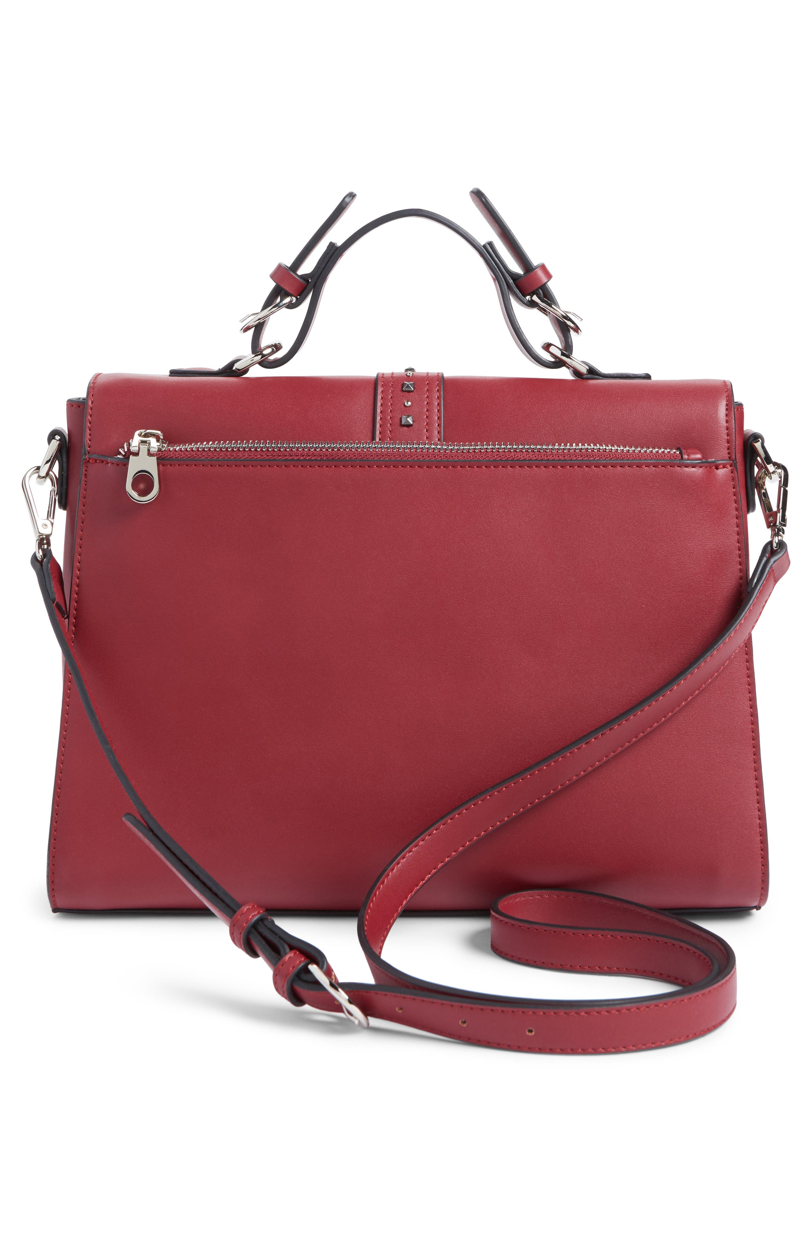 Blair Embellished Faux Leather Top Handle Satchel,                             Alternate thumbnail 3, color,                             Red Cerise