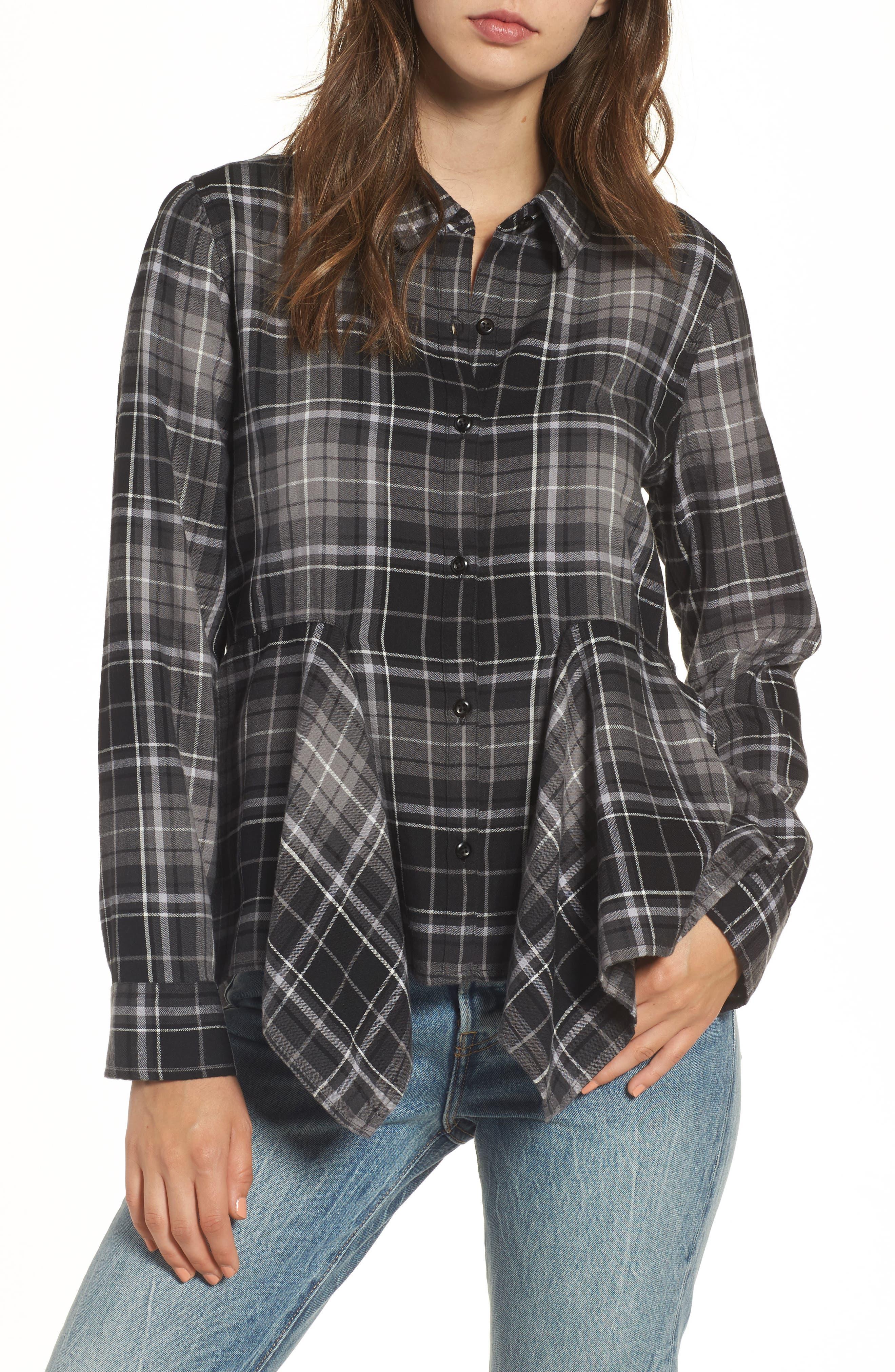 Plaid Godet Detail Shirt,                         Main,                         color, Black Evie Plaid