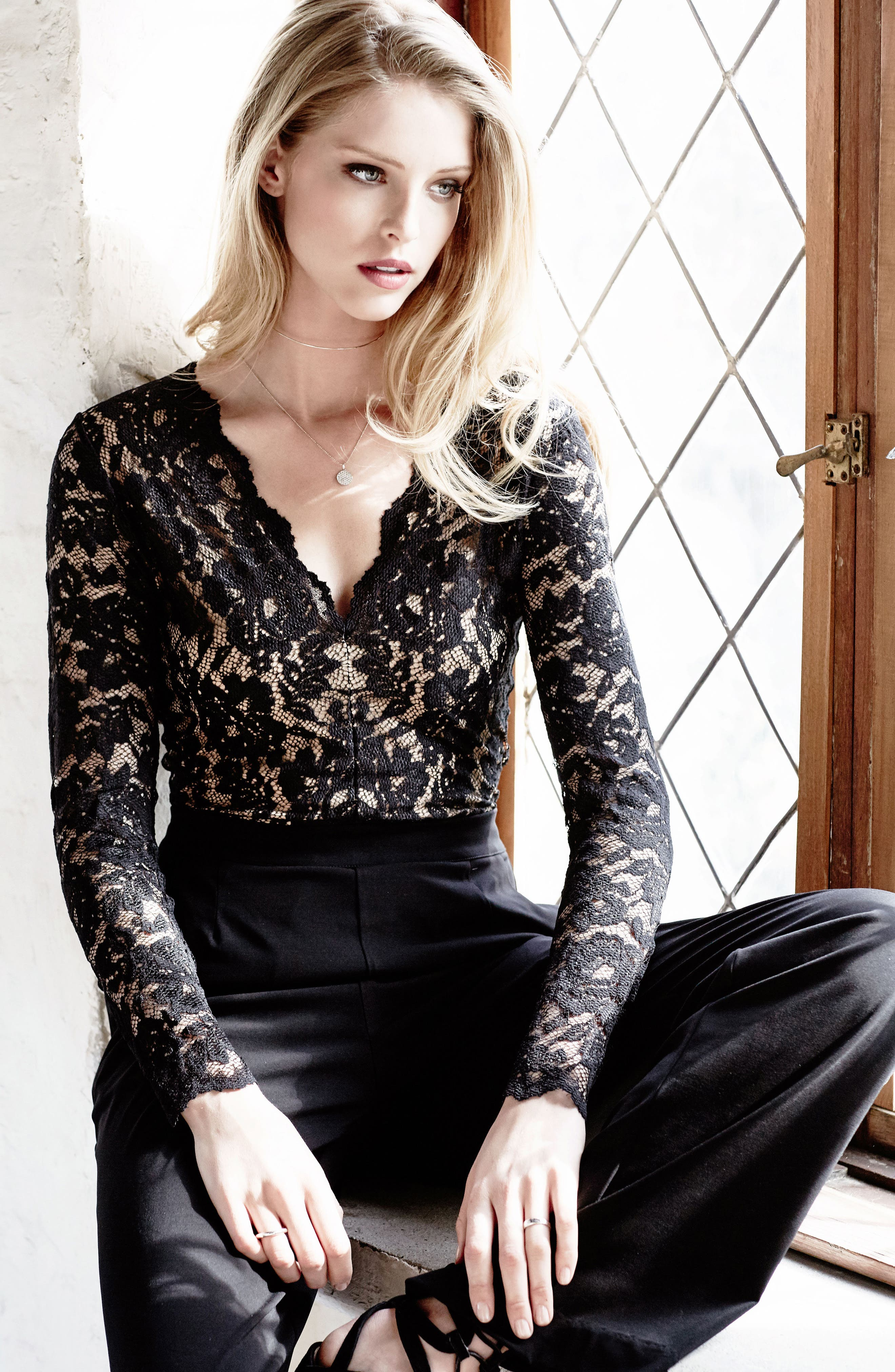 Ava Lace & Knit Jumpsuit,                             Alternate thumbnail 2, color,                             Black