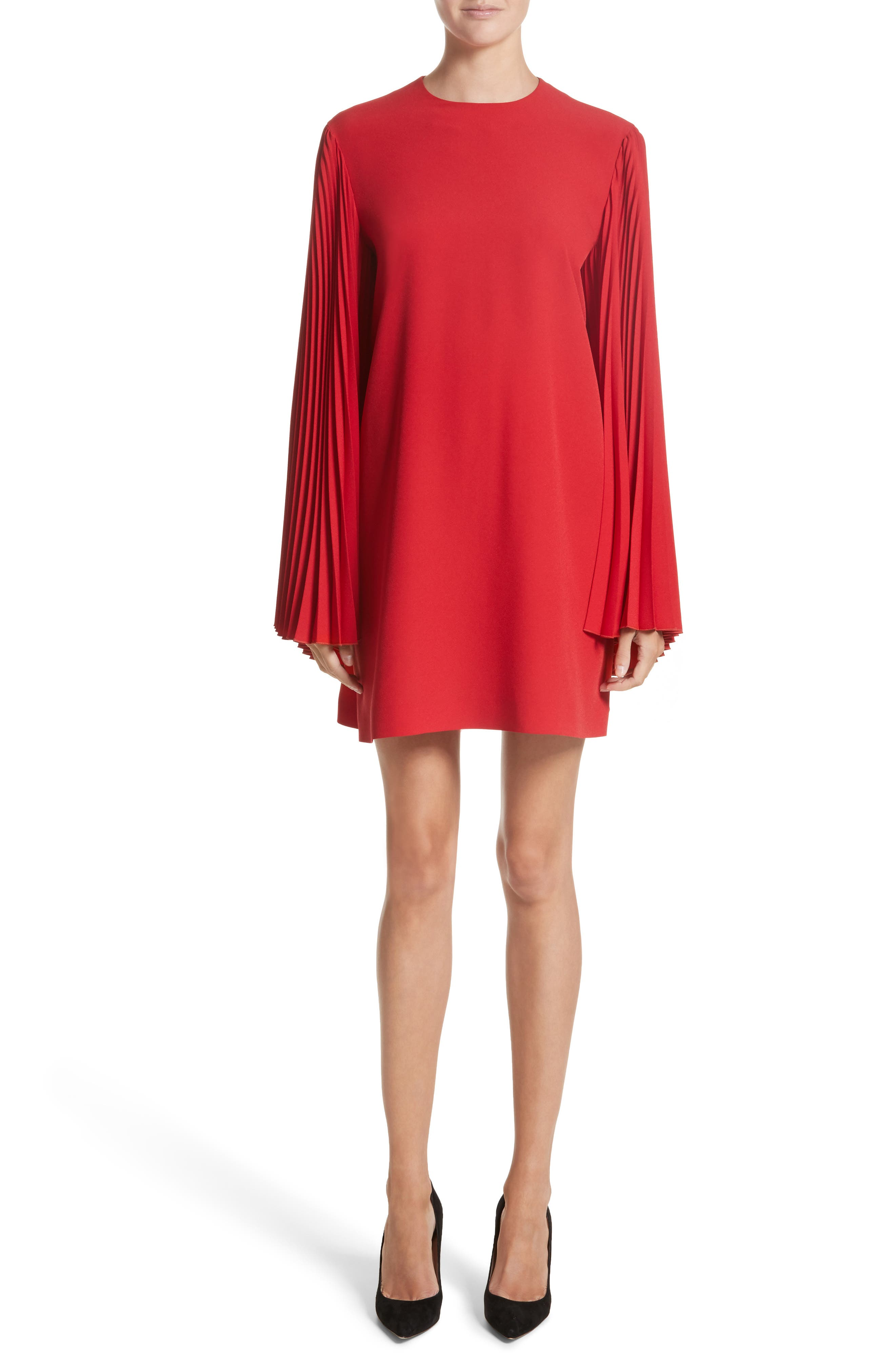 Pleated Sleeve Crepe Cady Dress,                         Main,                         color, Red