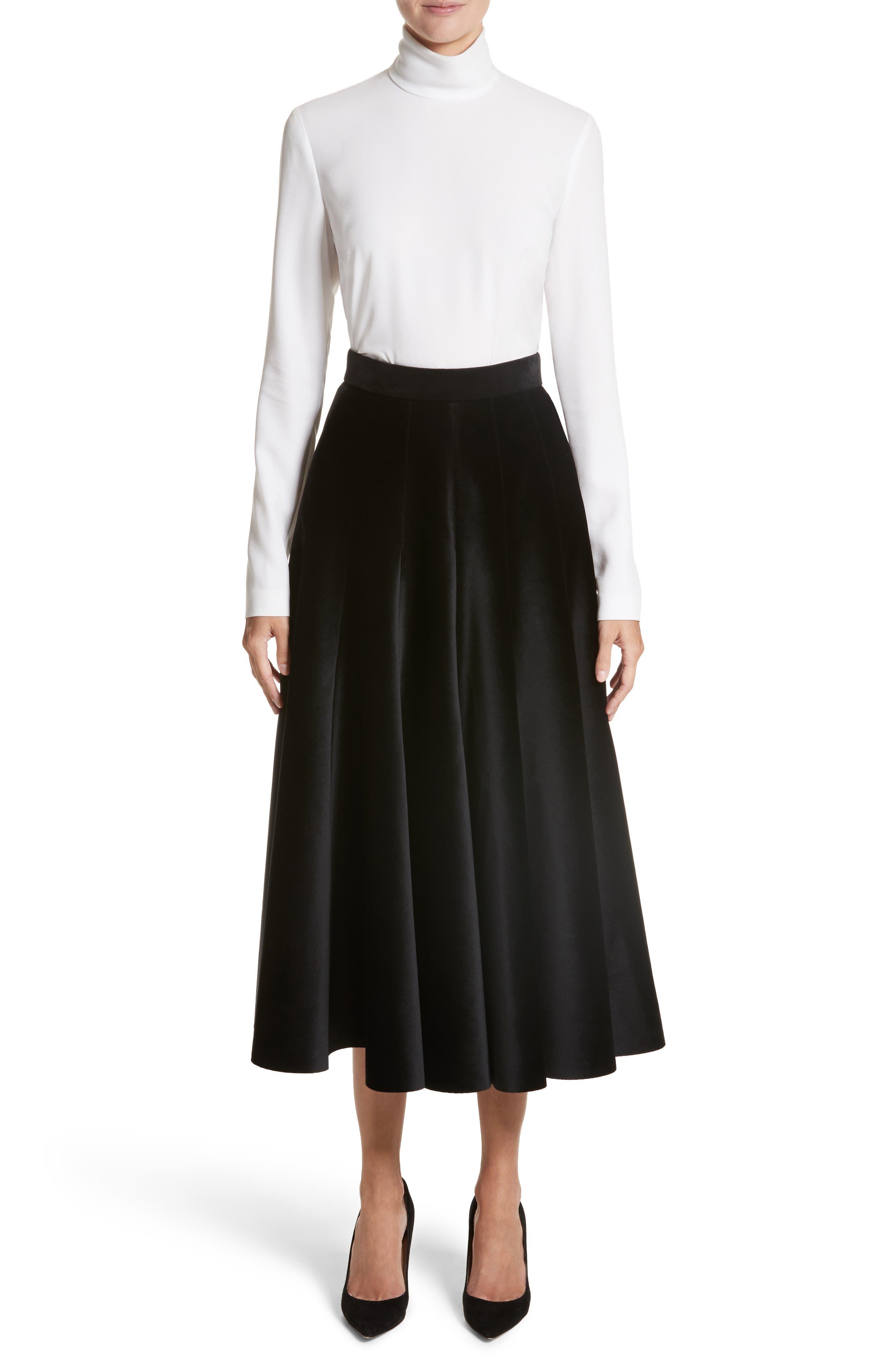 Velvet A-Line Midi Skirt,                             Alternate thumbnail 7, color,                             Black