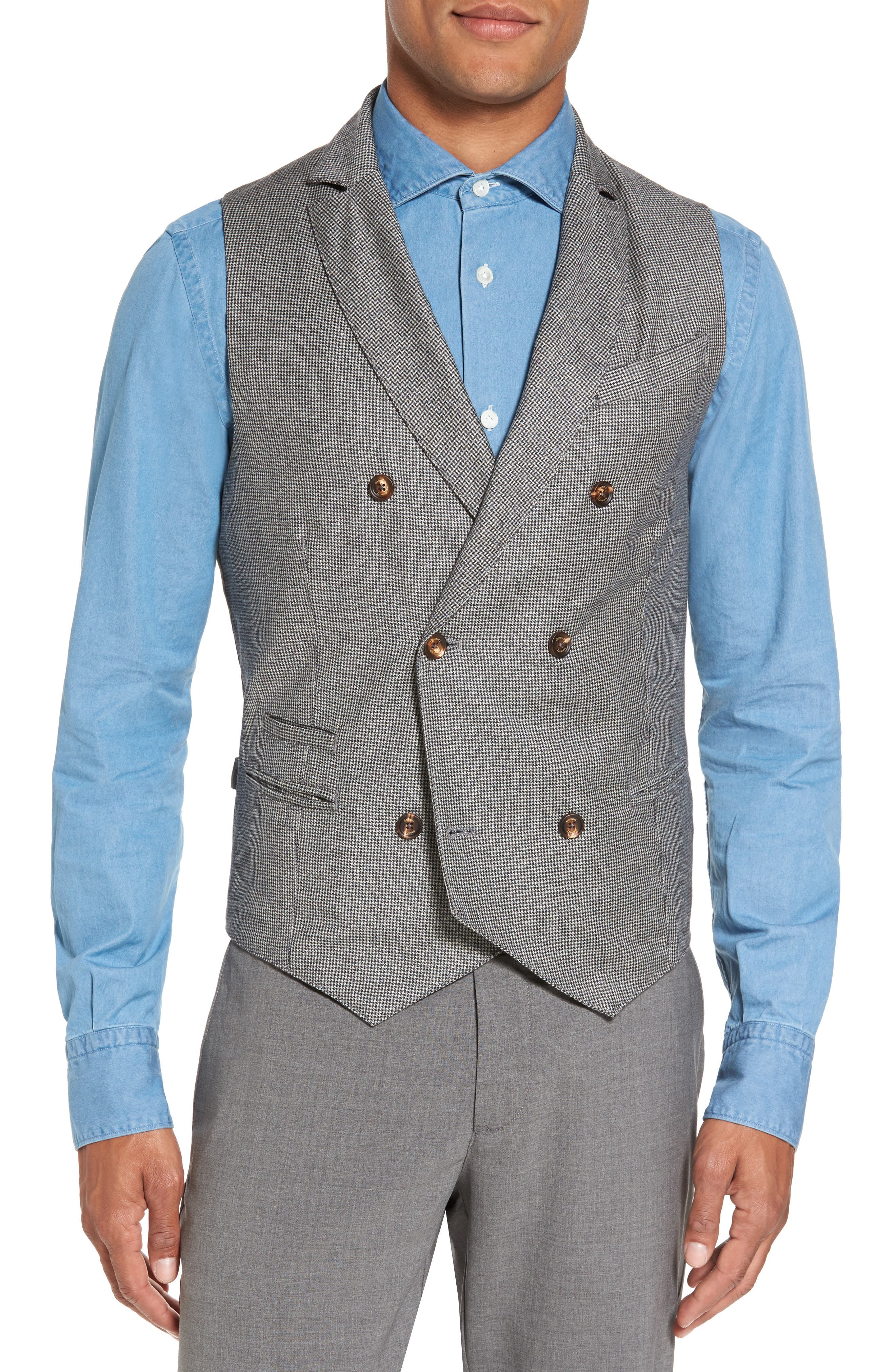 Houndstooth Wool Double Breasted Vest,                         Main,                         color, Grey
