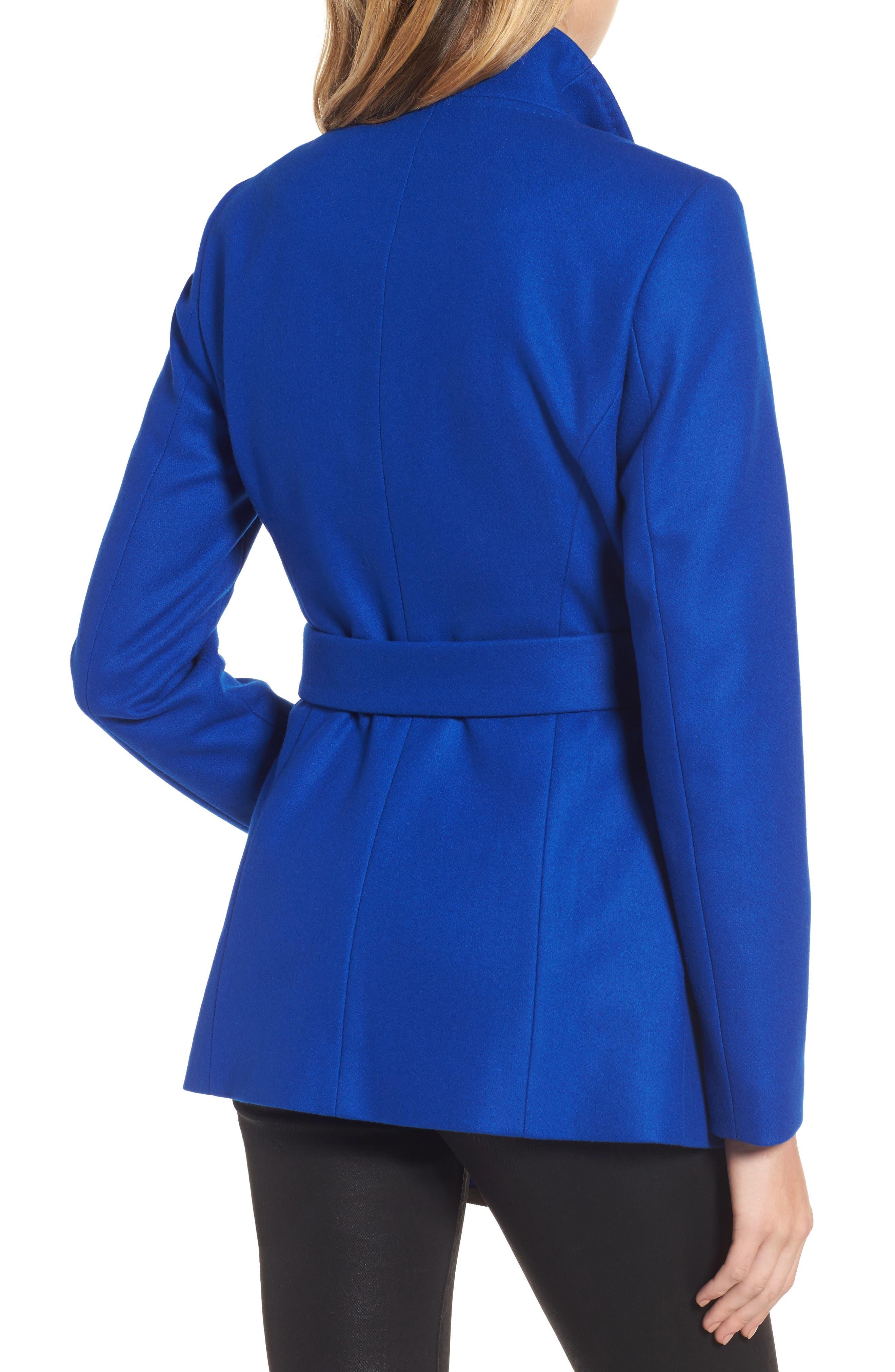 Wool Blend Short Wrap Coat,                             Alternate thumbnail 2, color,                             Bright Blue