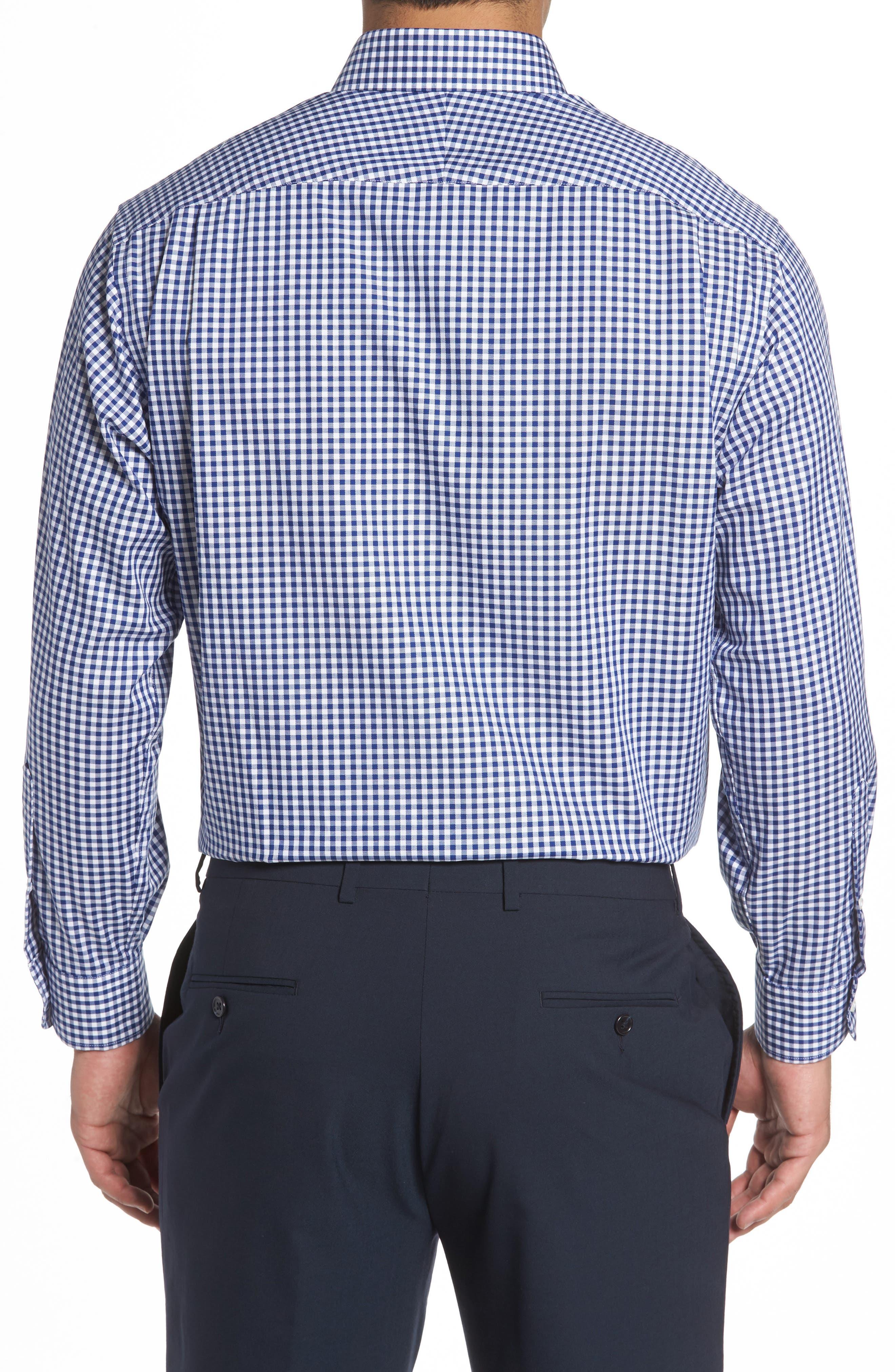 Classic Fit Non-Iron Gingham Dress Shirt,                             Alternate thumbnail 2, color,                             Navy- Patriot