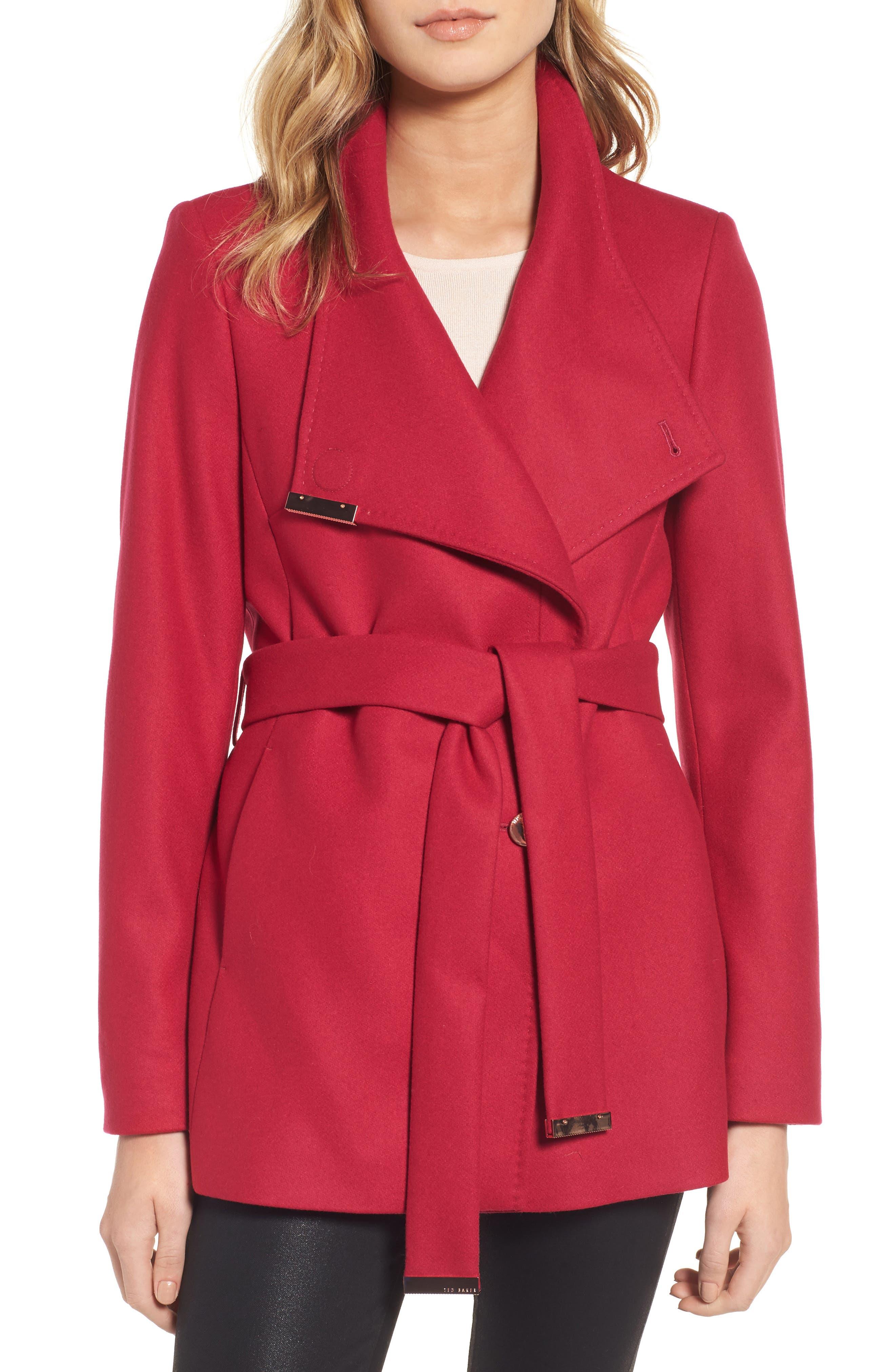 Main Image - Ted Baker London Wool Blend Short Wrap Coat