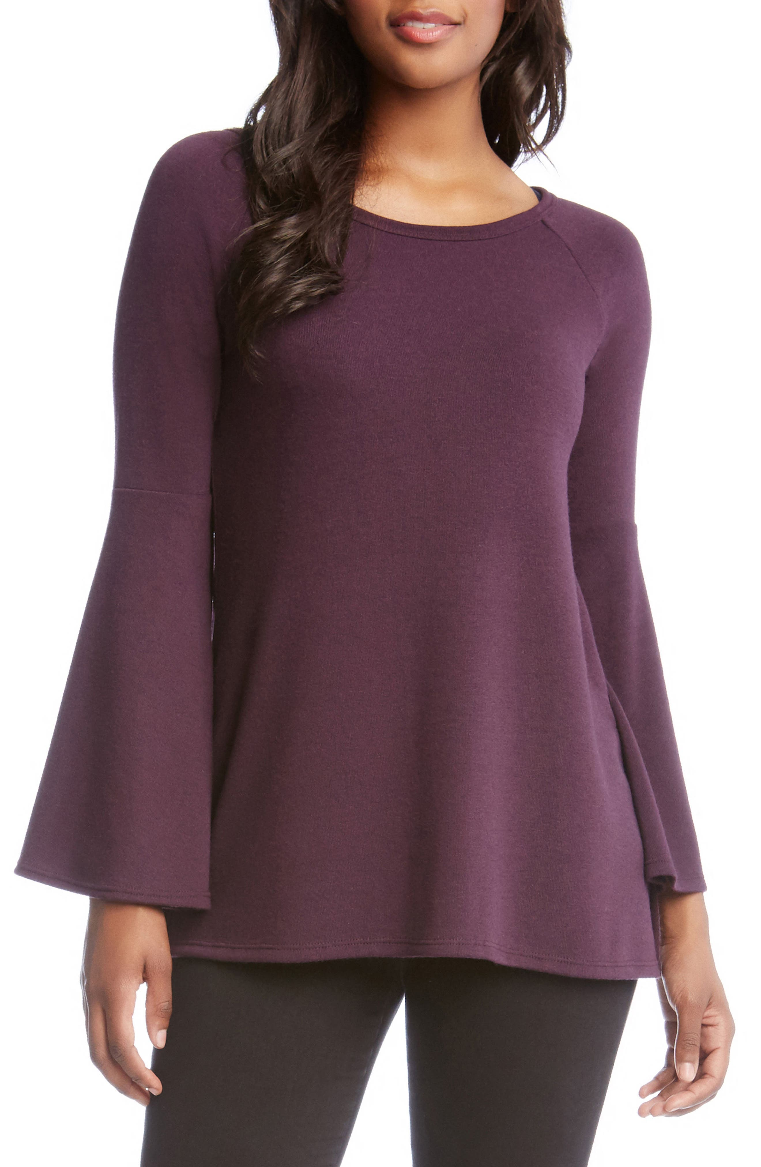 Bell Sleeve Sweater,                             Main thumbnail 1, color,                             Eggplant