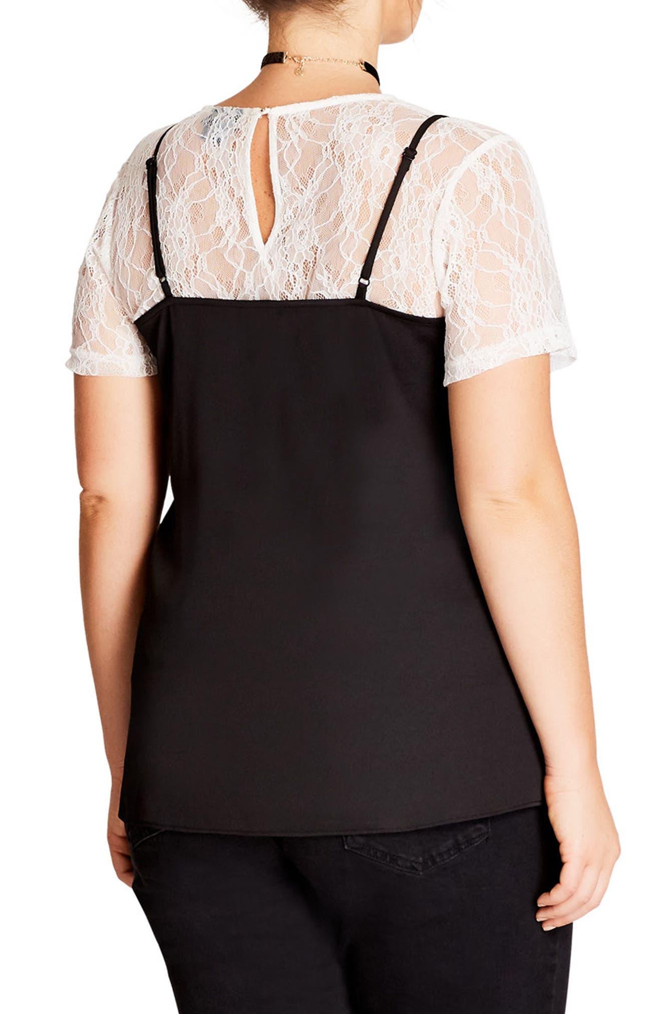 Alternate Image 2  - City Chic Lace Top (Plus Size)