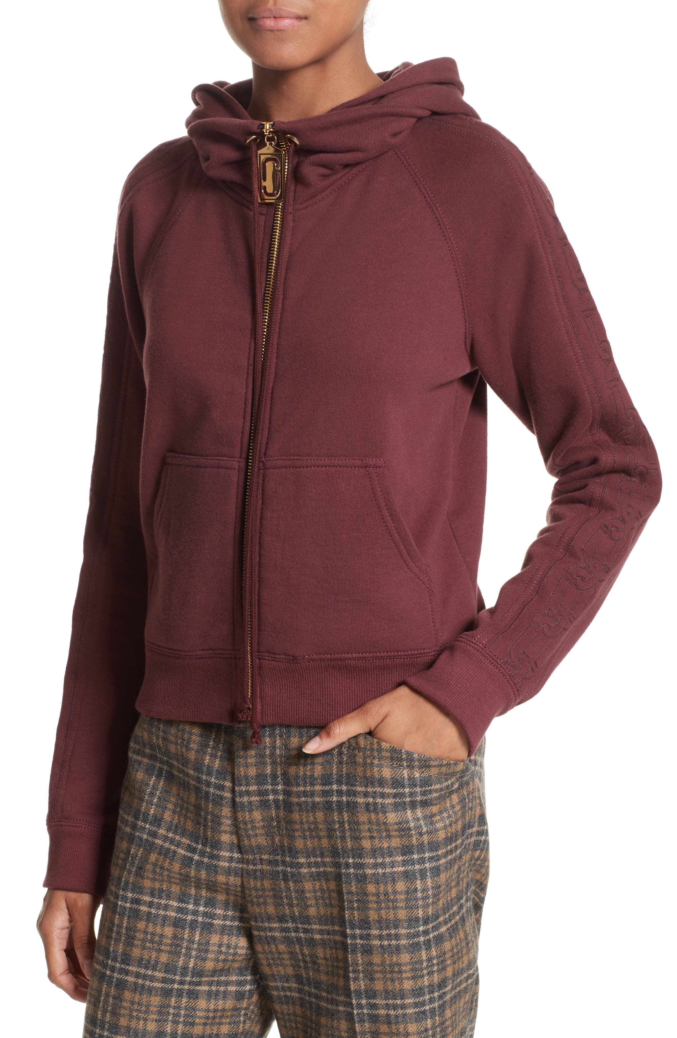 Embroidered Sleeve Hoodie,                             Alternate thumbnail 4, color,                             Burgundy