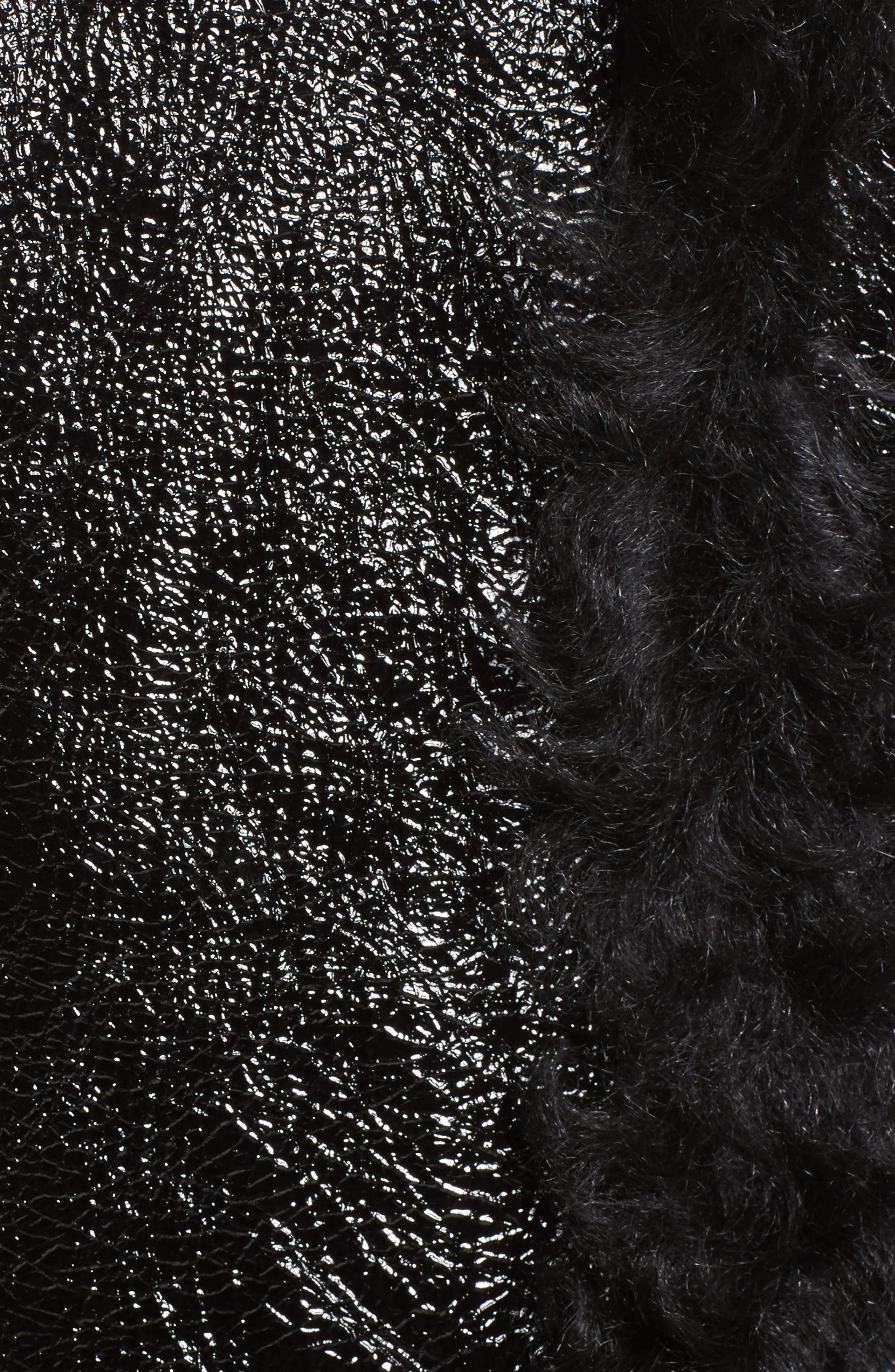Marques'Almeida Foiled Genuine Shearling Coat,                             Alternate thumbnail 7, color,                             Black/Black